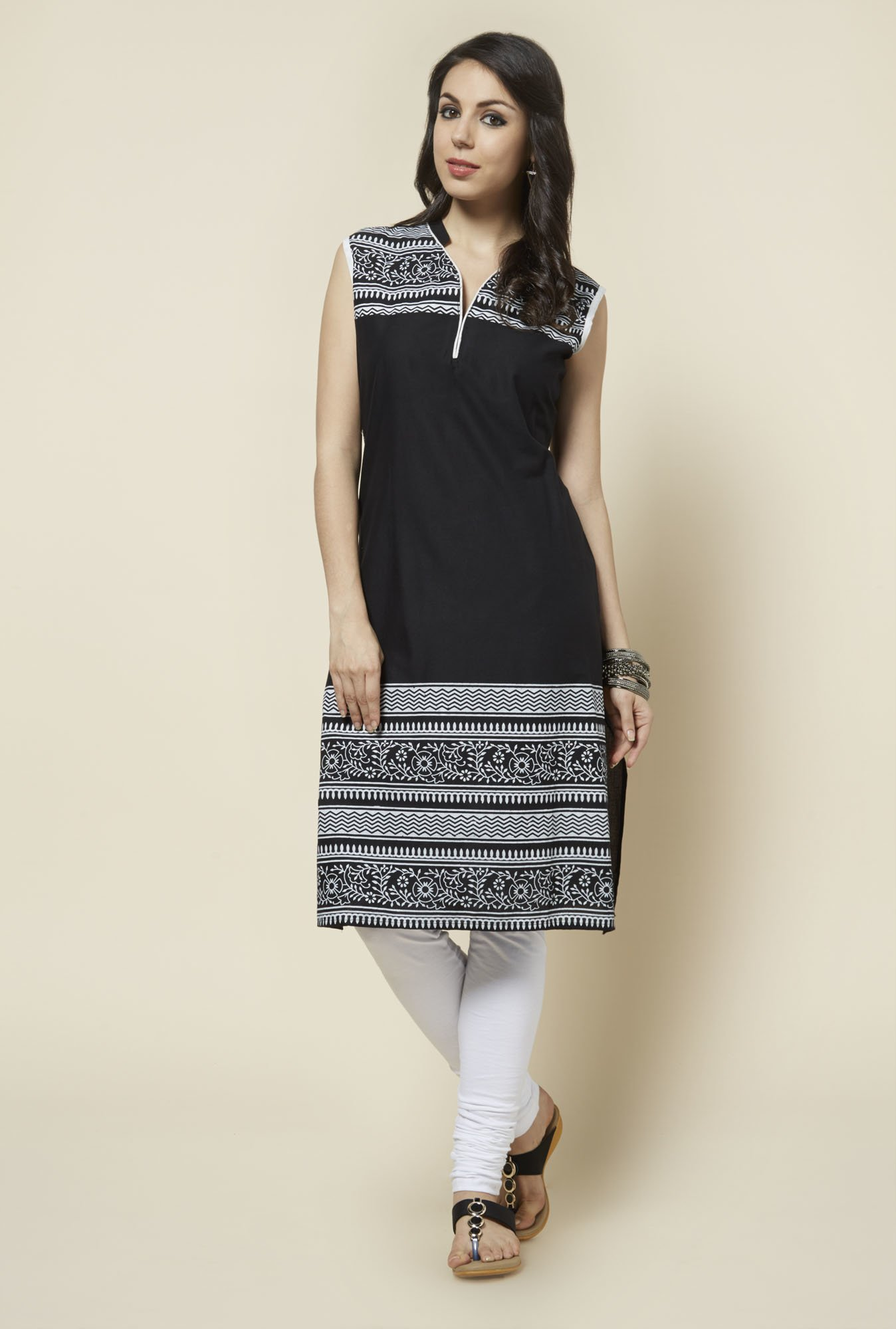 Zudio Black Printed Long Kurta