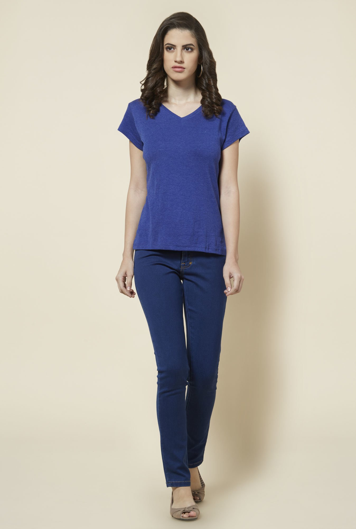 Zudio Indigo Solid V Neck T Shirt
