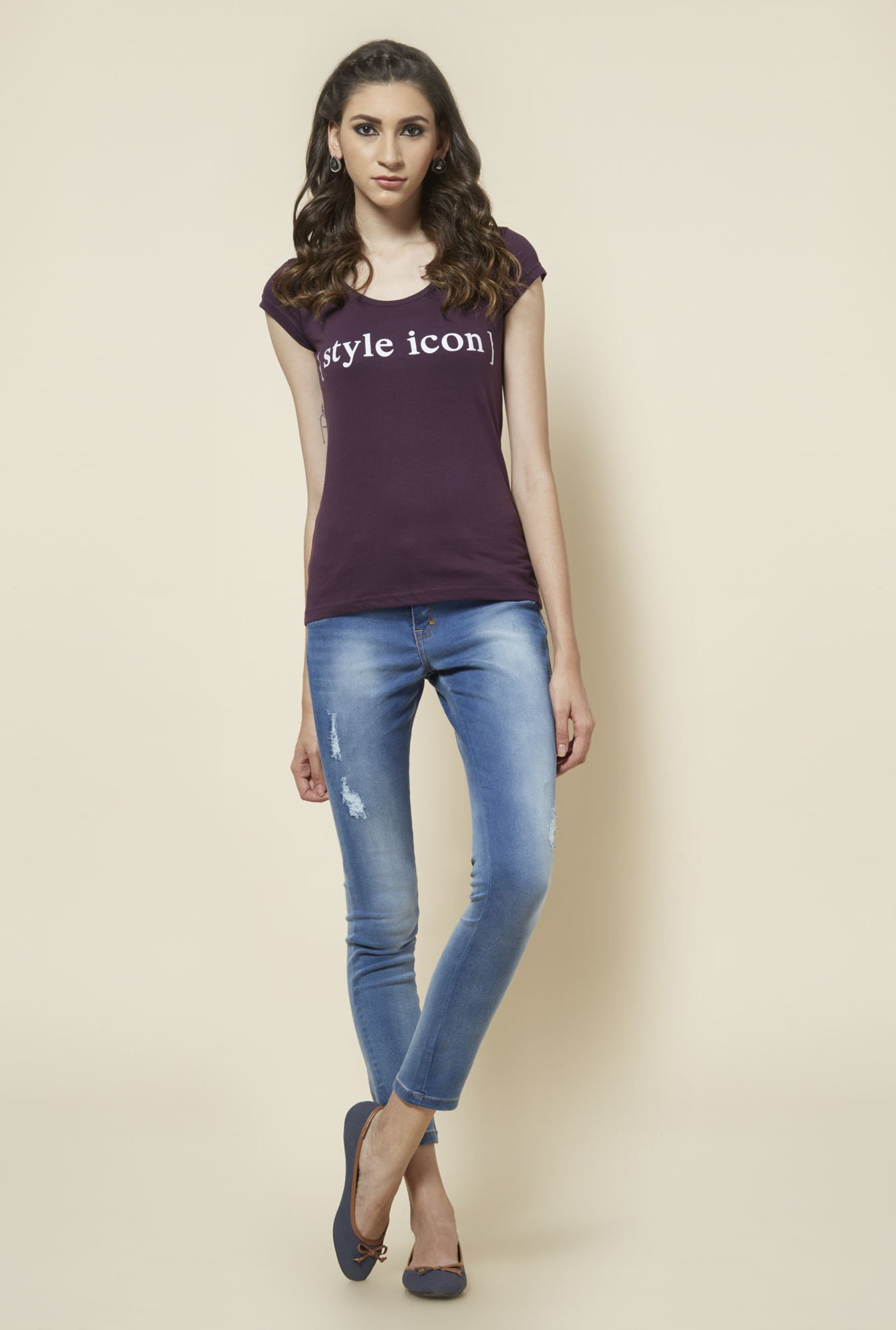 Zudio Wine Printed T Shirt
