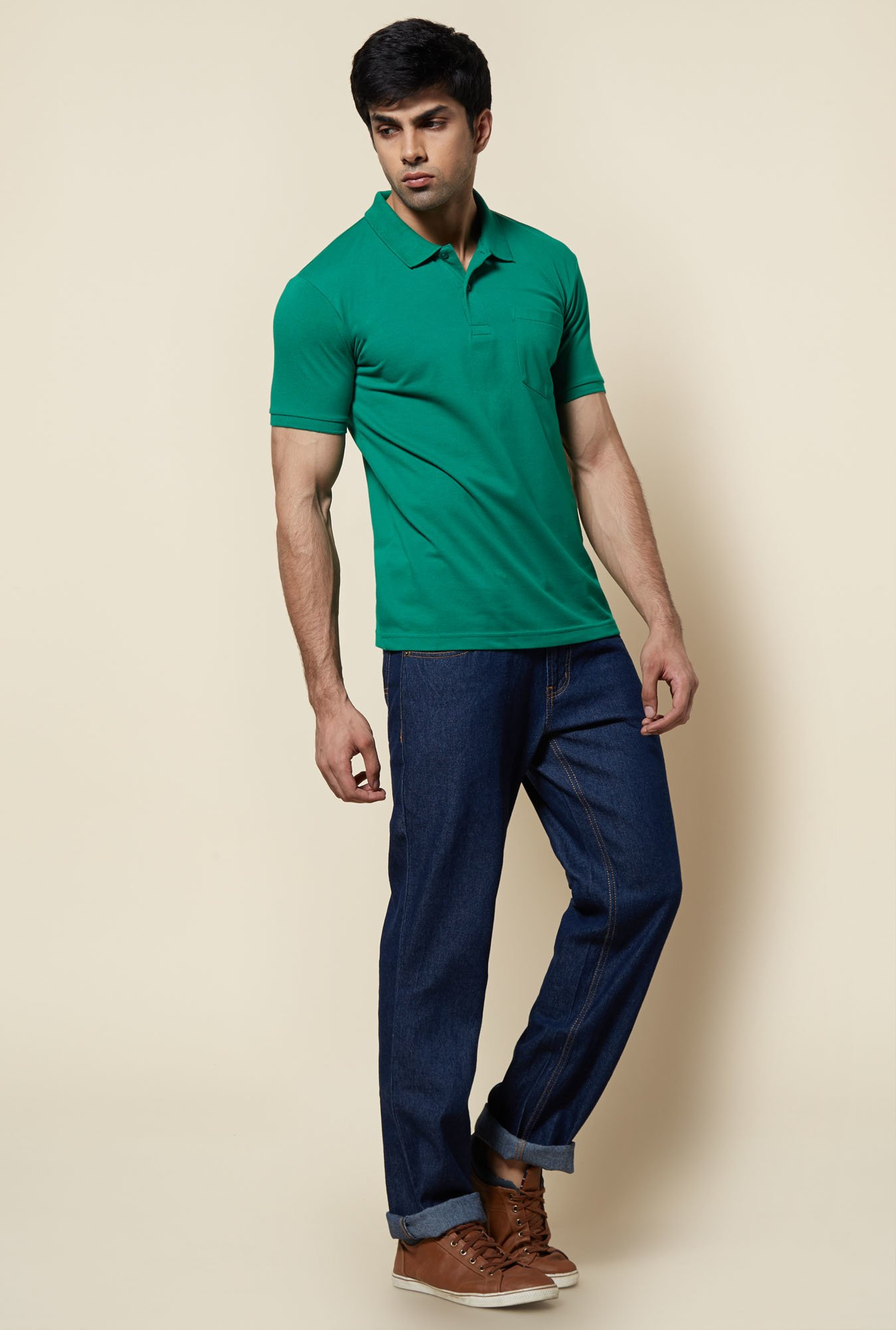 Zudio Teal Solid Polo T Shirt