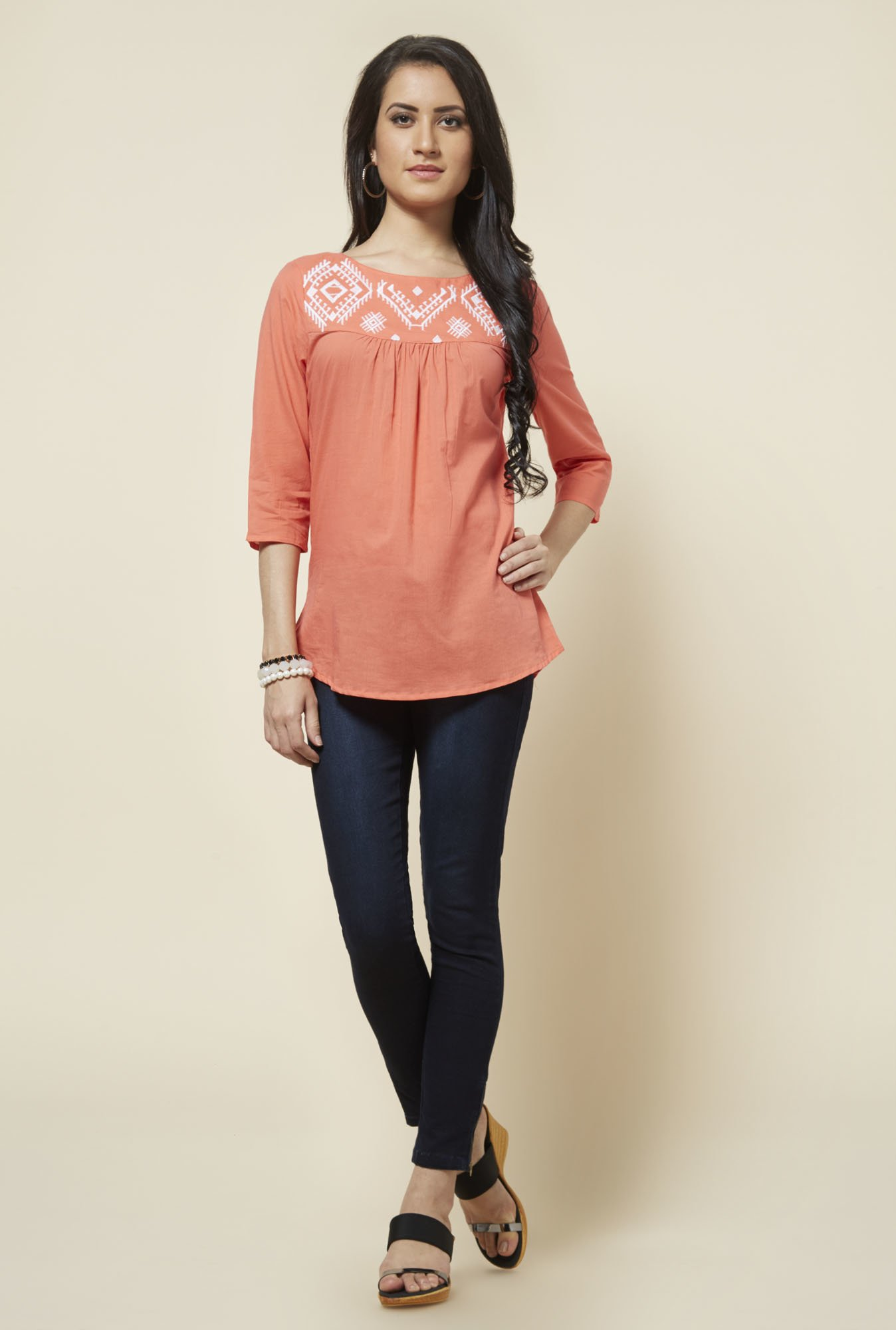 Zudio Orange George Solid Top