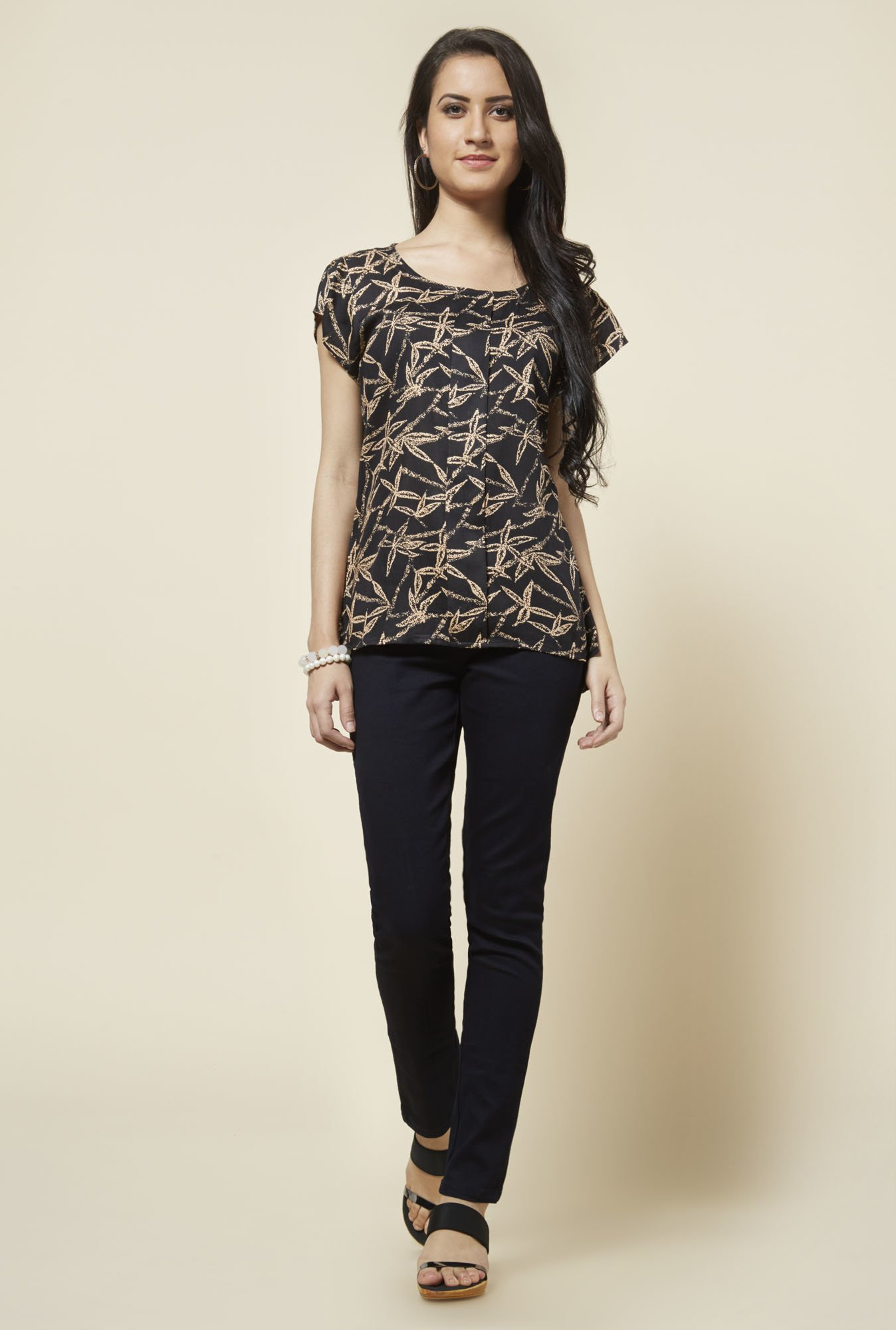 Zudio Black Kathy Printed Top