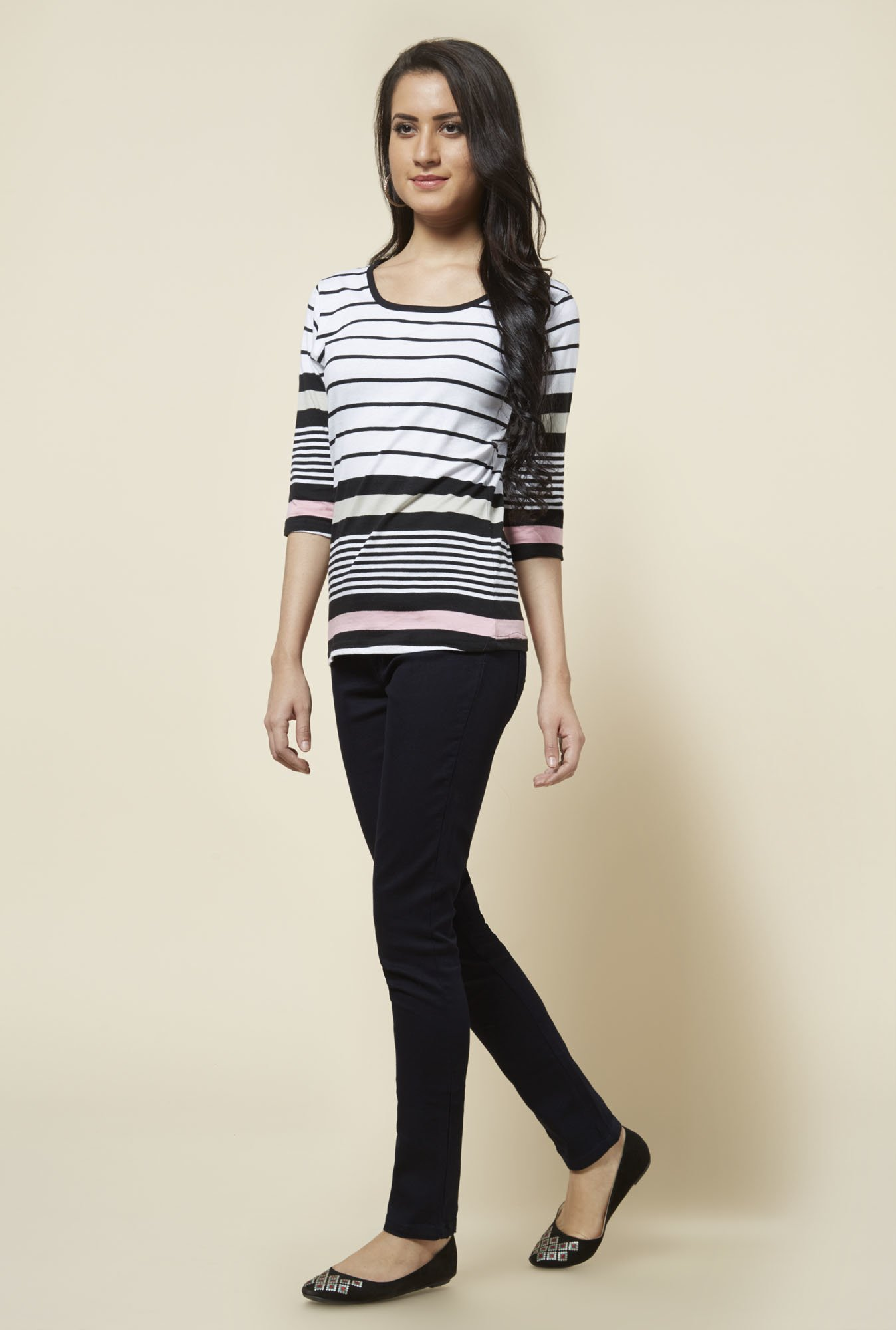 Zudio White Zoe Striped Top