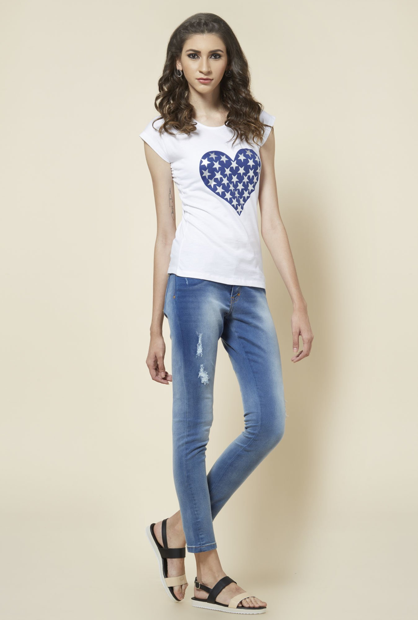 Zudio Blue Ripped Denim Jeans