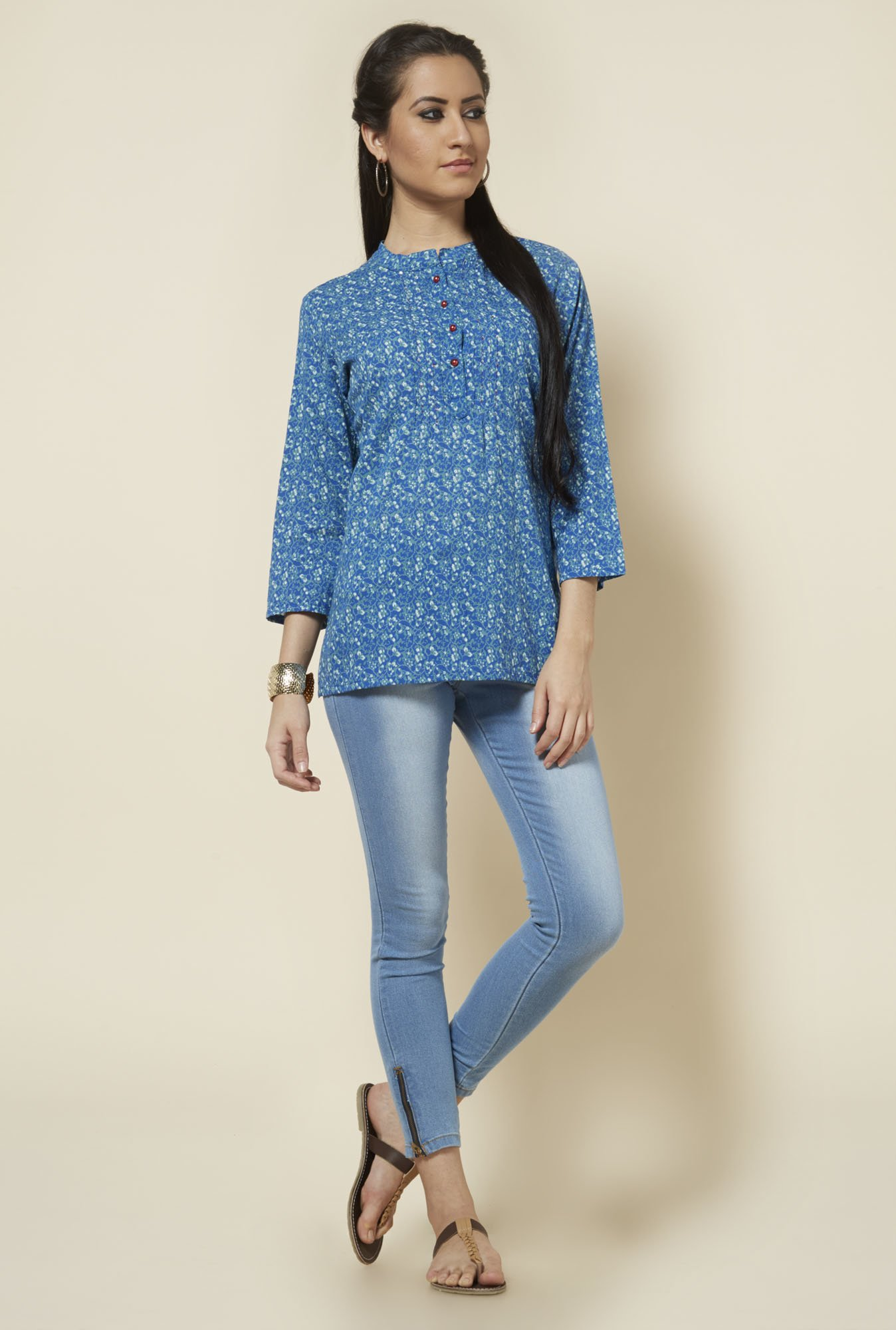 Zudio Blue Floral Block Printed Kurti