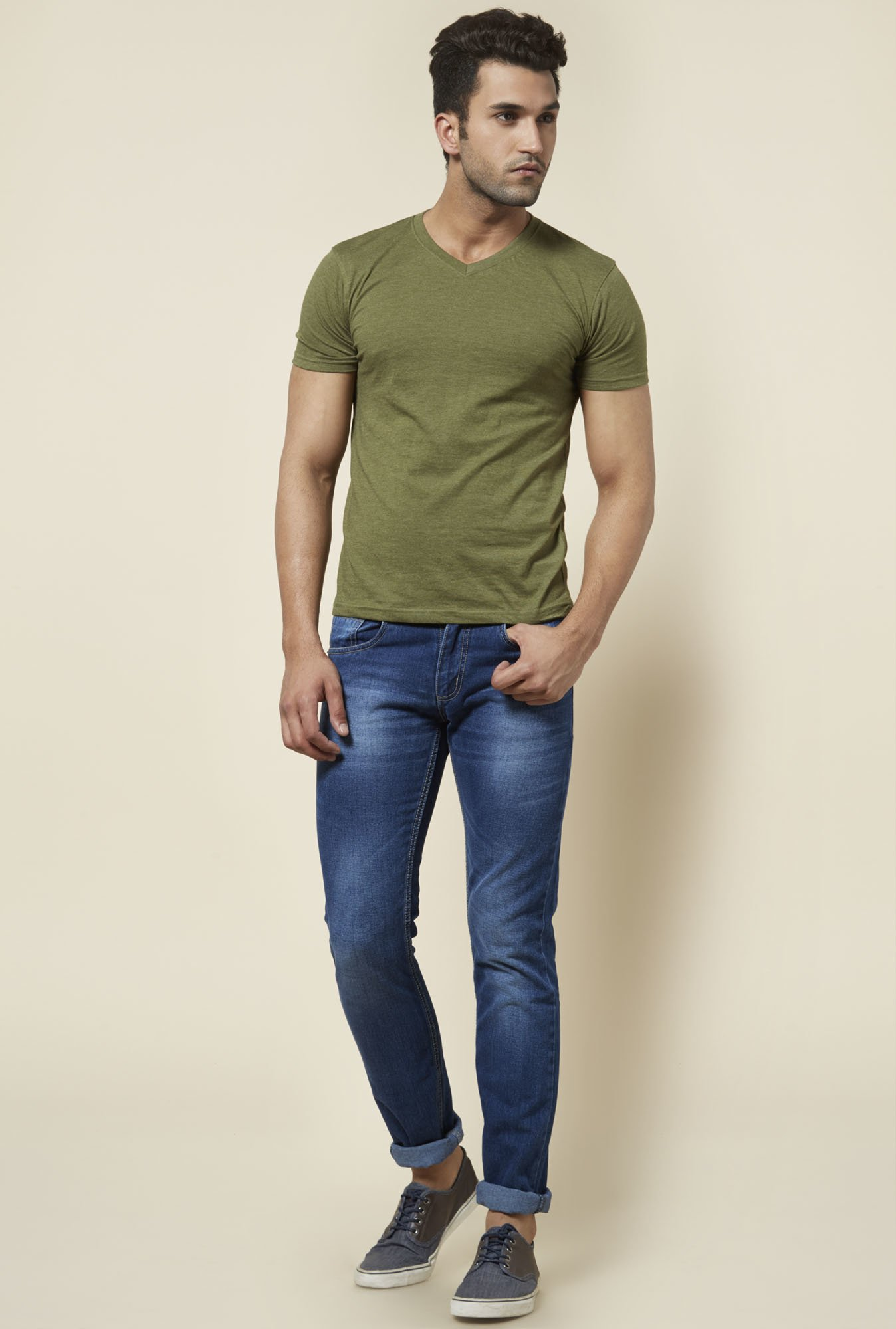 Zudio Olive Solid T Shirt