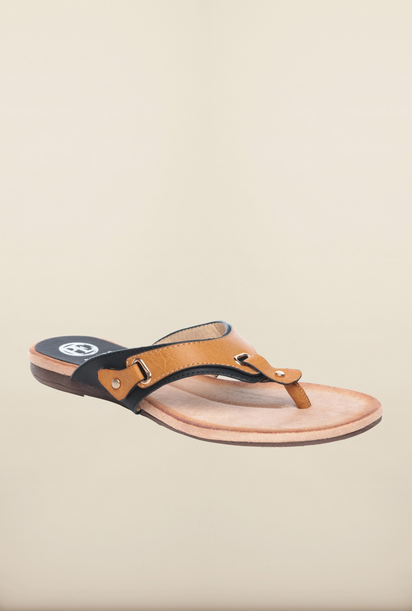 Pavers England Tan & Black Slippers