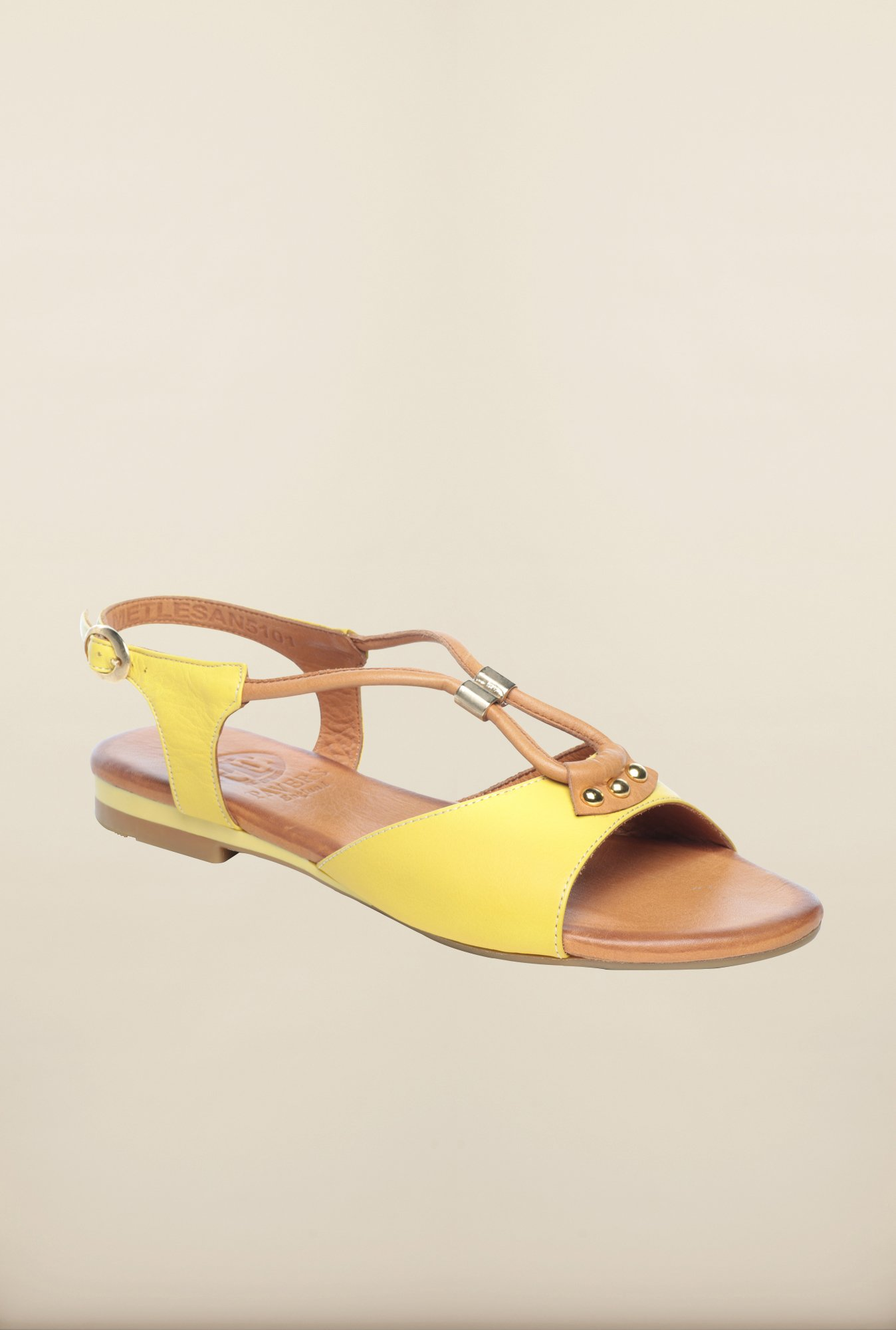 Pavers England Yellow & Beige Flat Sandals