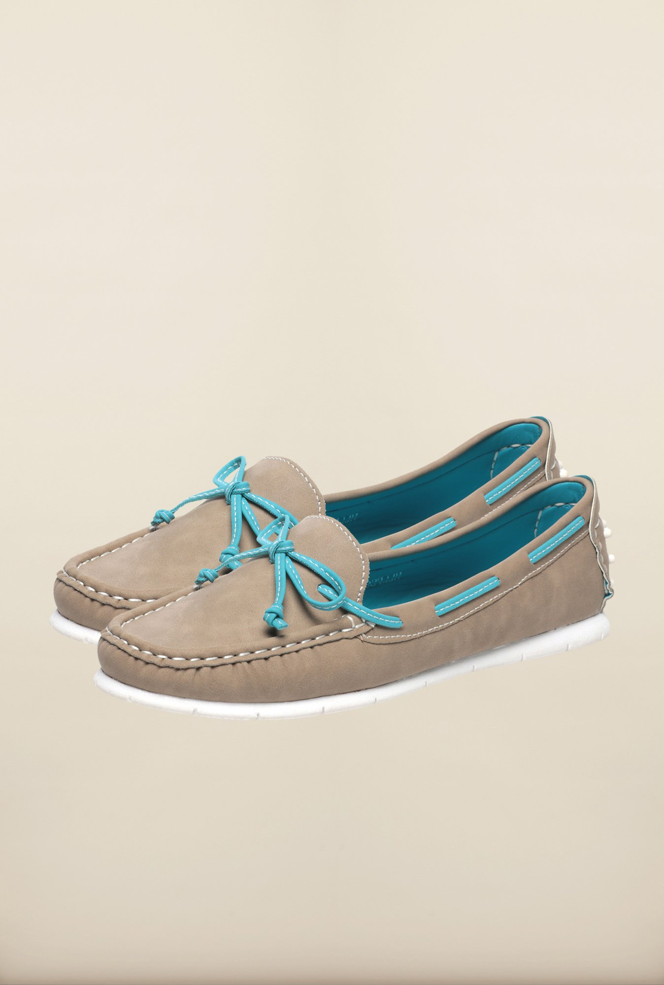 Pavers England Beige Boat Shoes