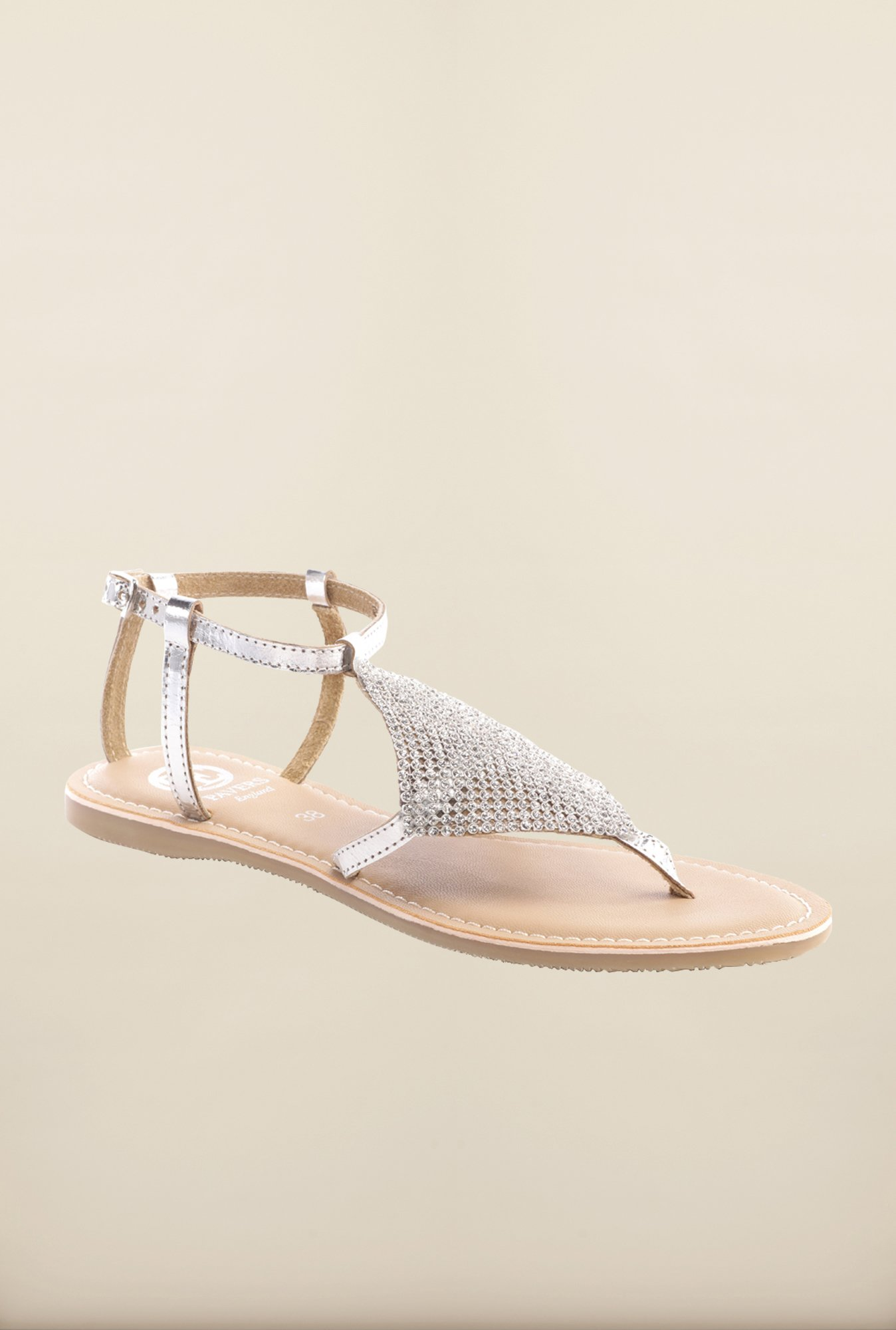 Pavers England Silver Flat Sandals