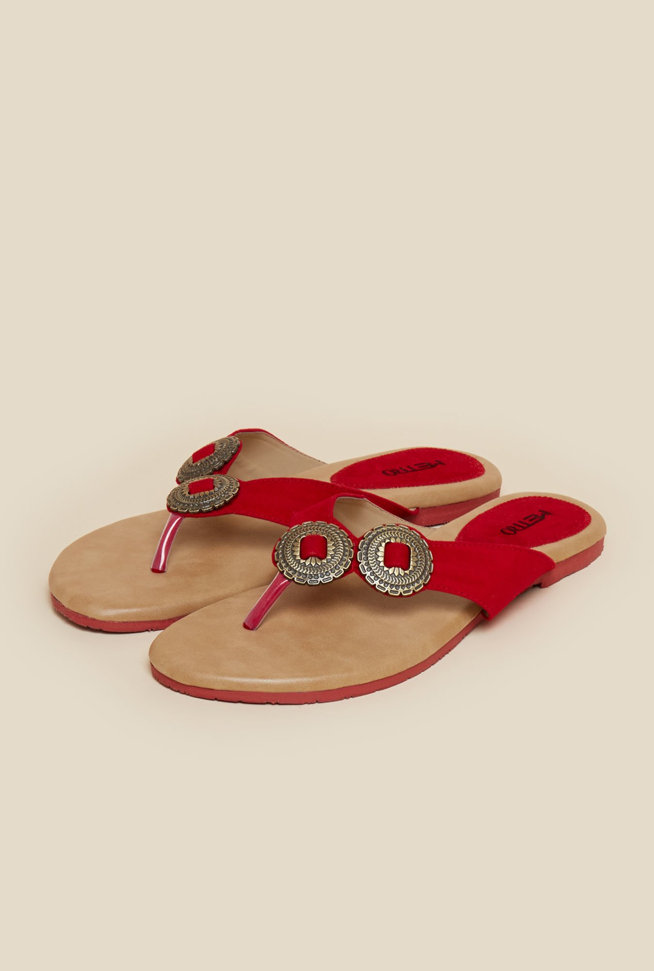 Metro Red Embellished Flat Sandals
