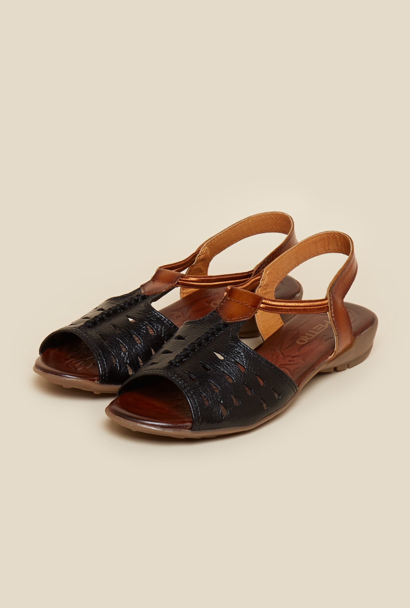 Metro Black Cut Work Sandals