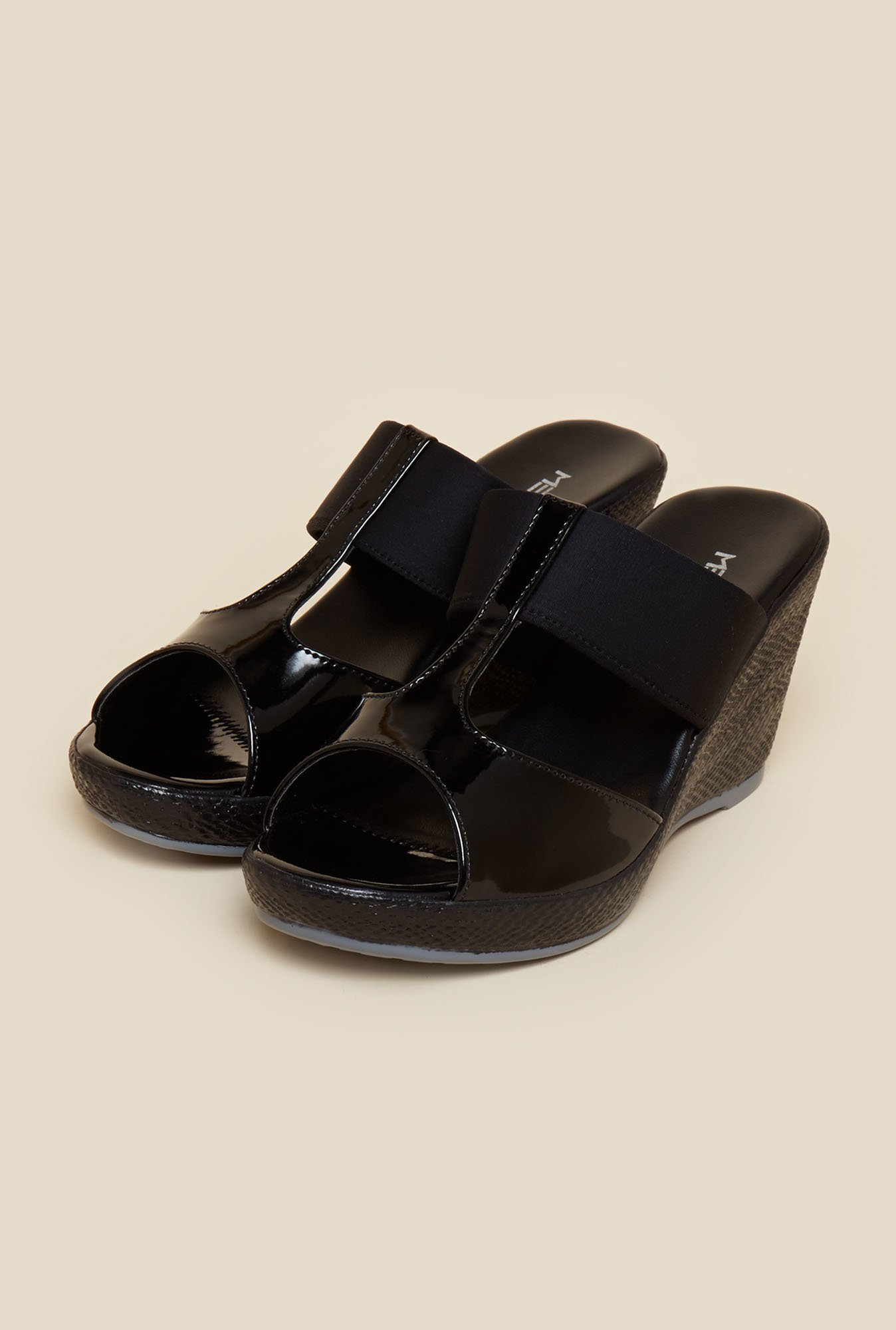 Metro Black Faux Leather Wedges