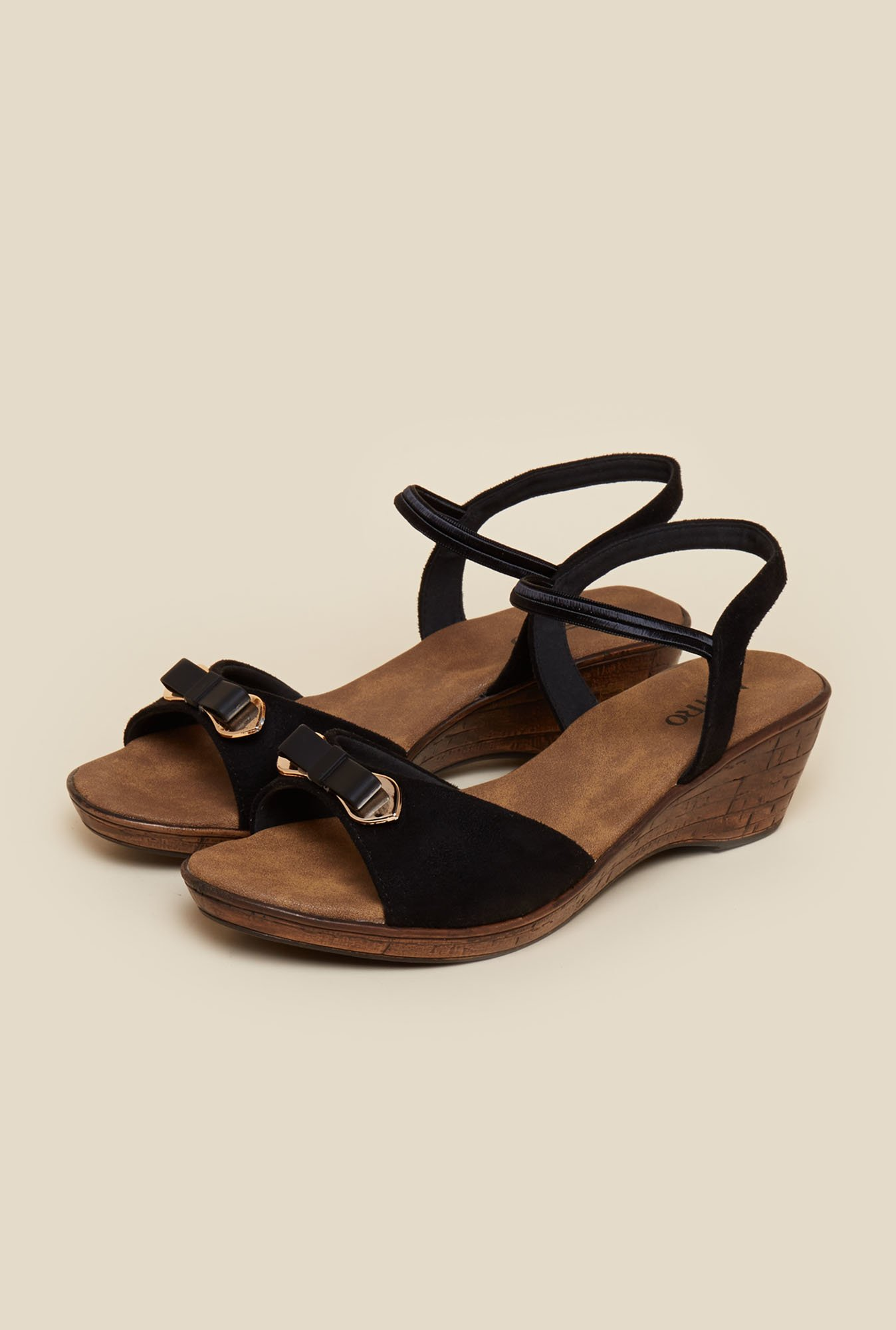 Metro Black Open Toe Wedges