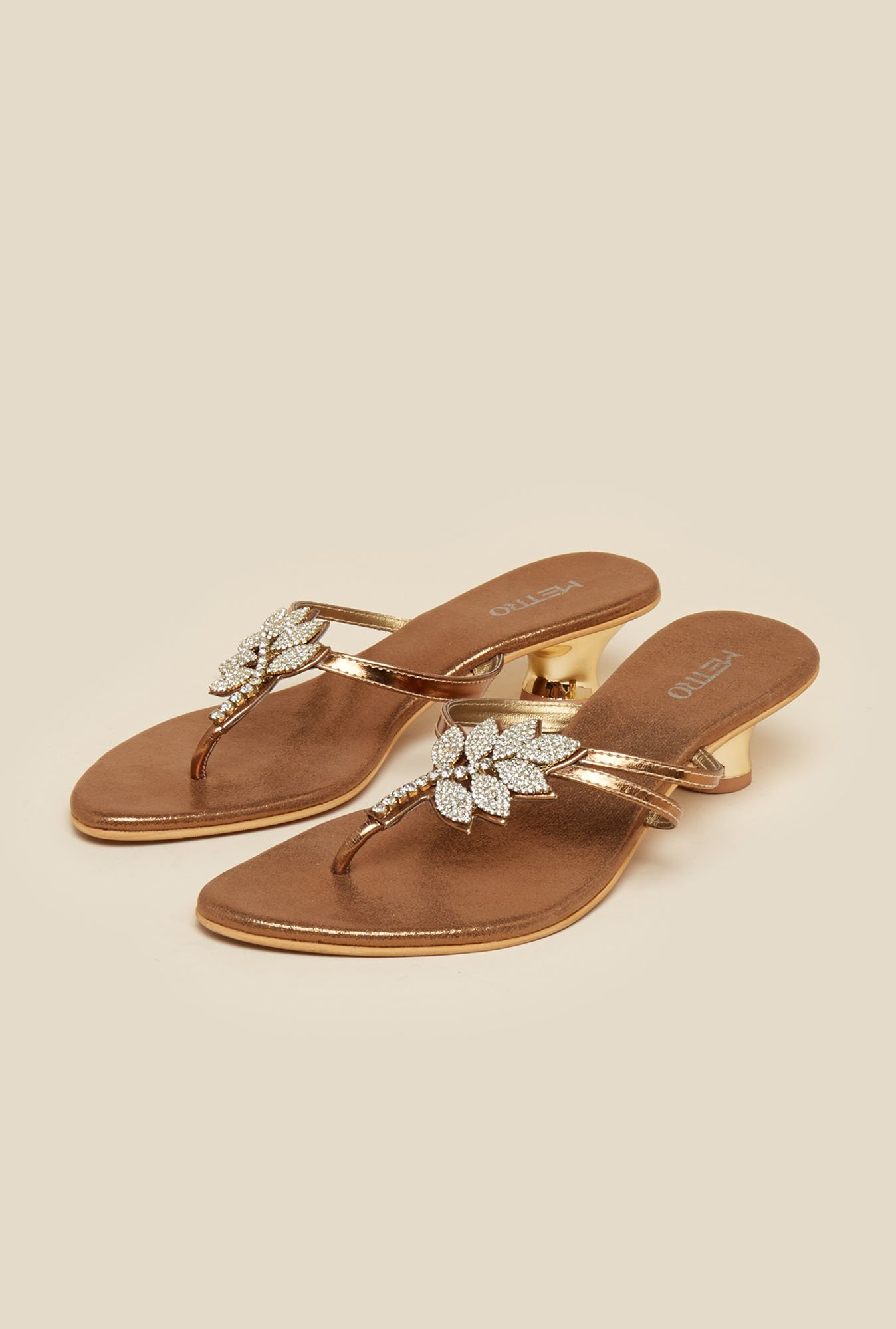 Metro Antique Gold Leaf Design Sandals