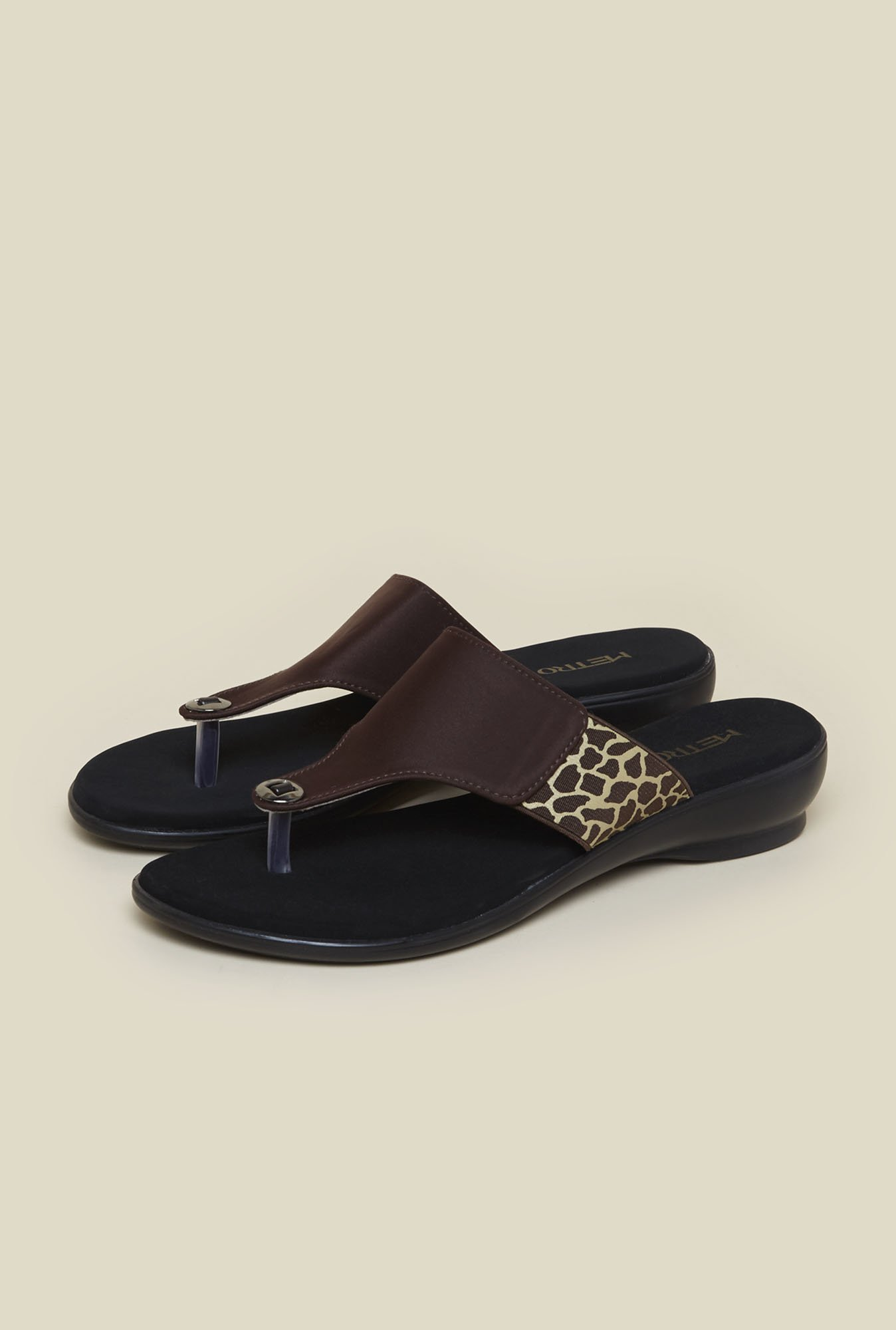 Metro Brown Animal Print Slip-On Sandals
