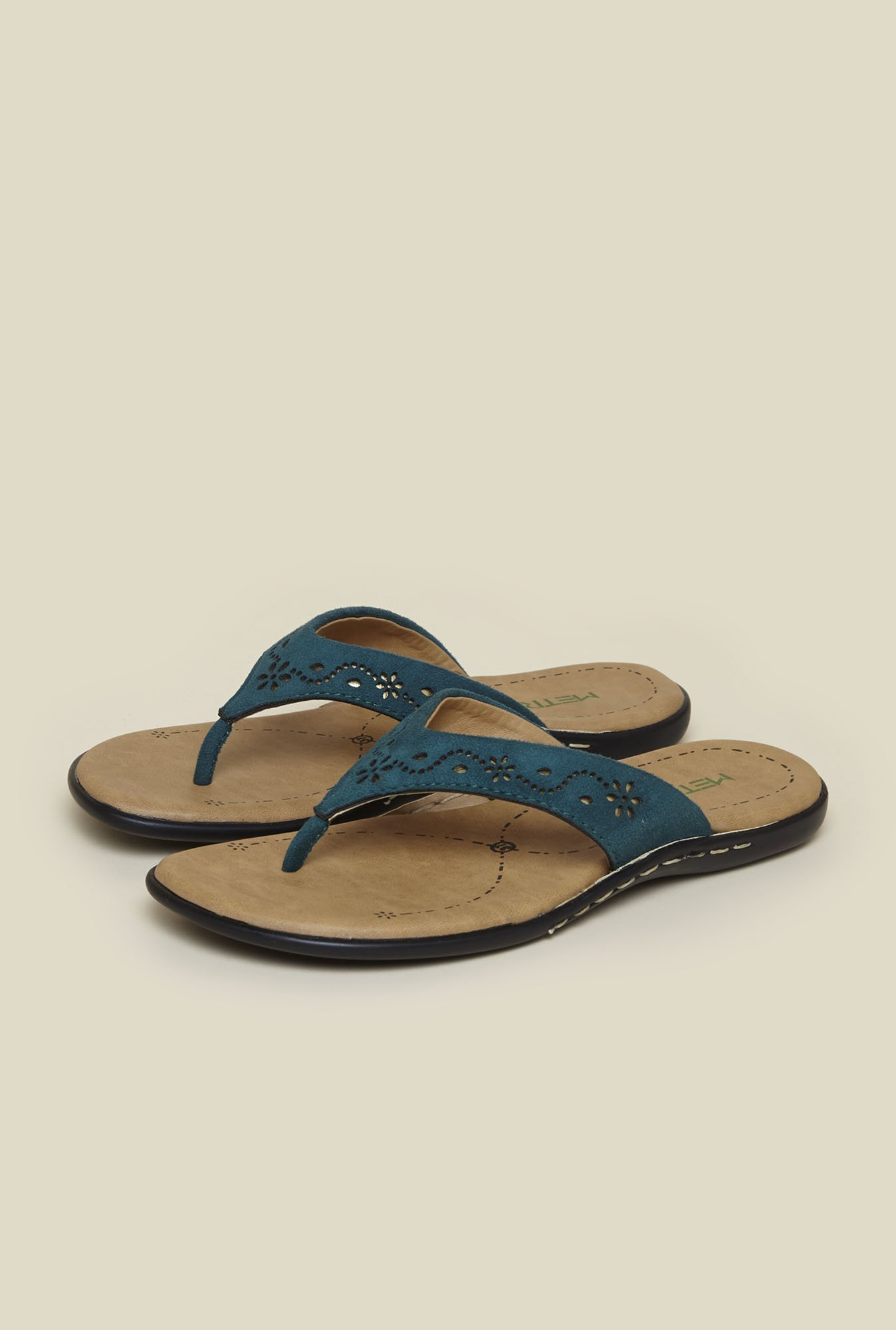 Metro Blue Floral Design Slip-On Sandals
