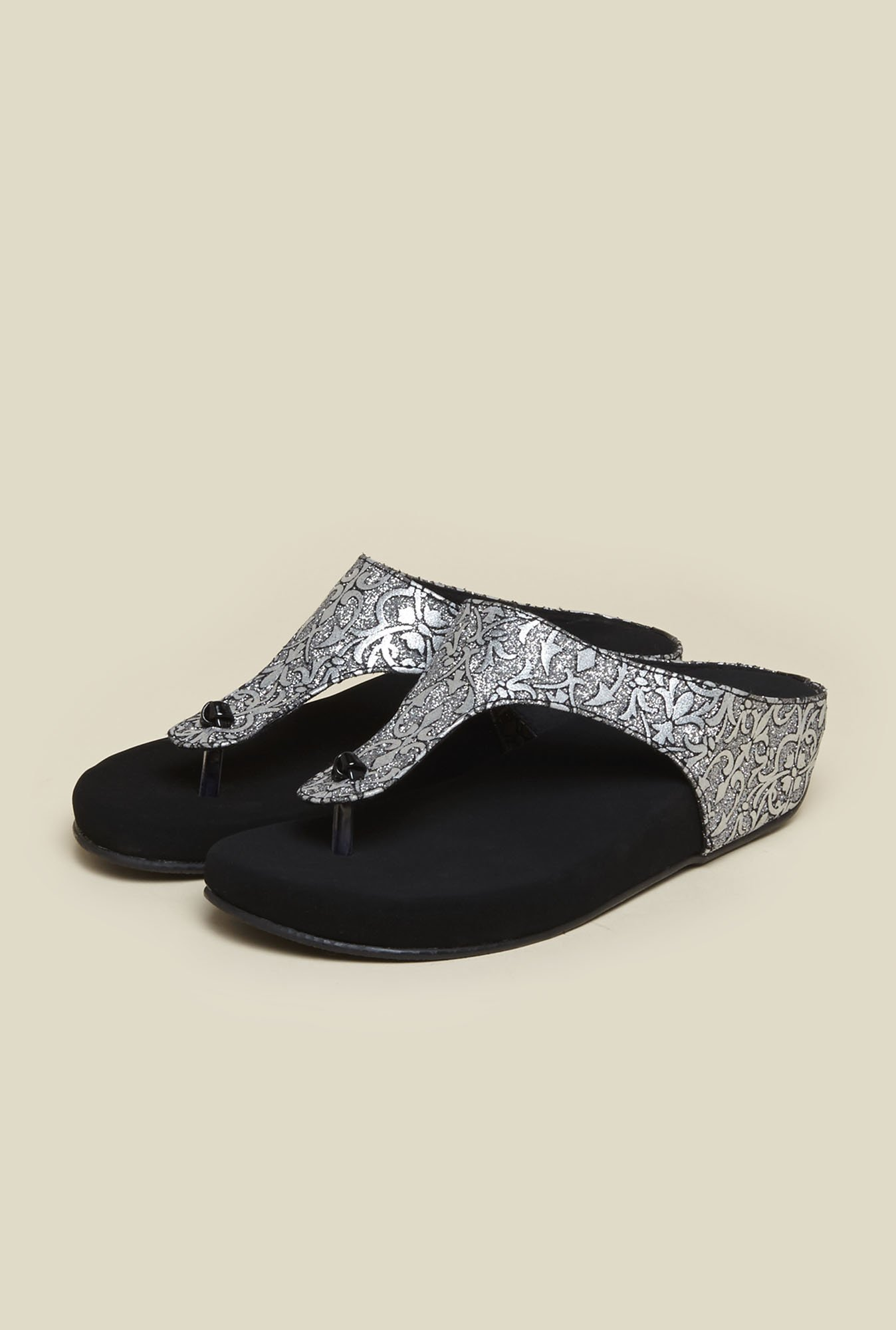 Metro Black & Silver Slip-On Sandals