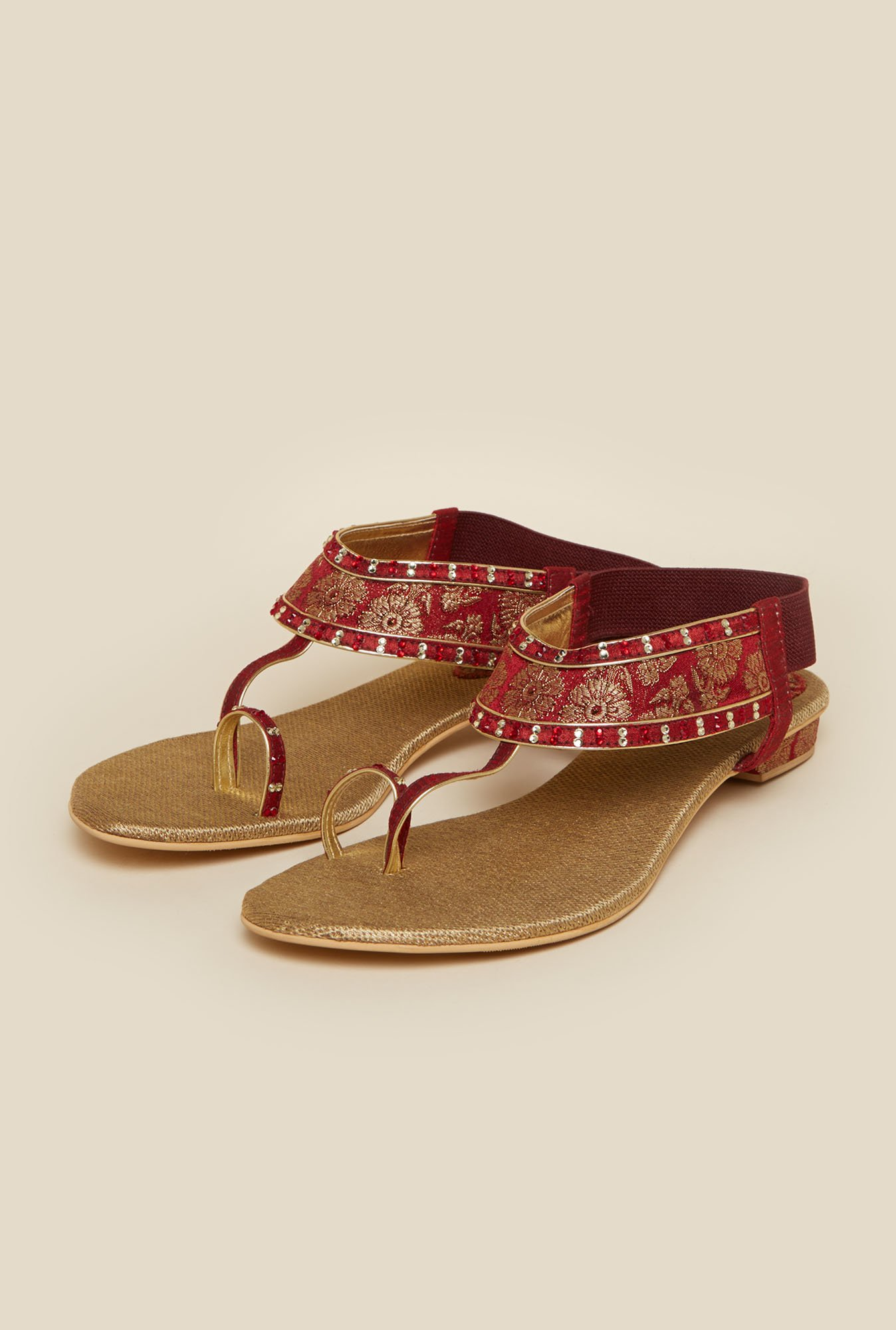 Metro Maroon Toe Ring Sandals