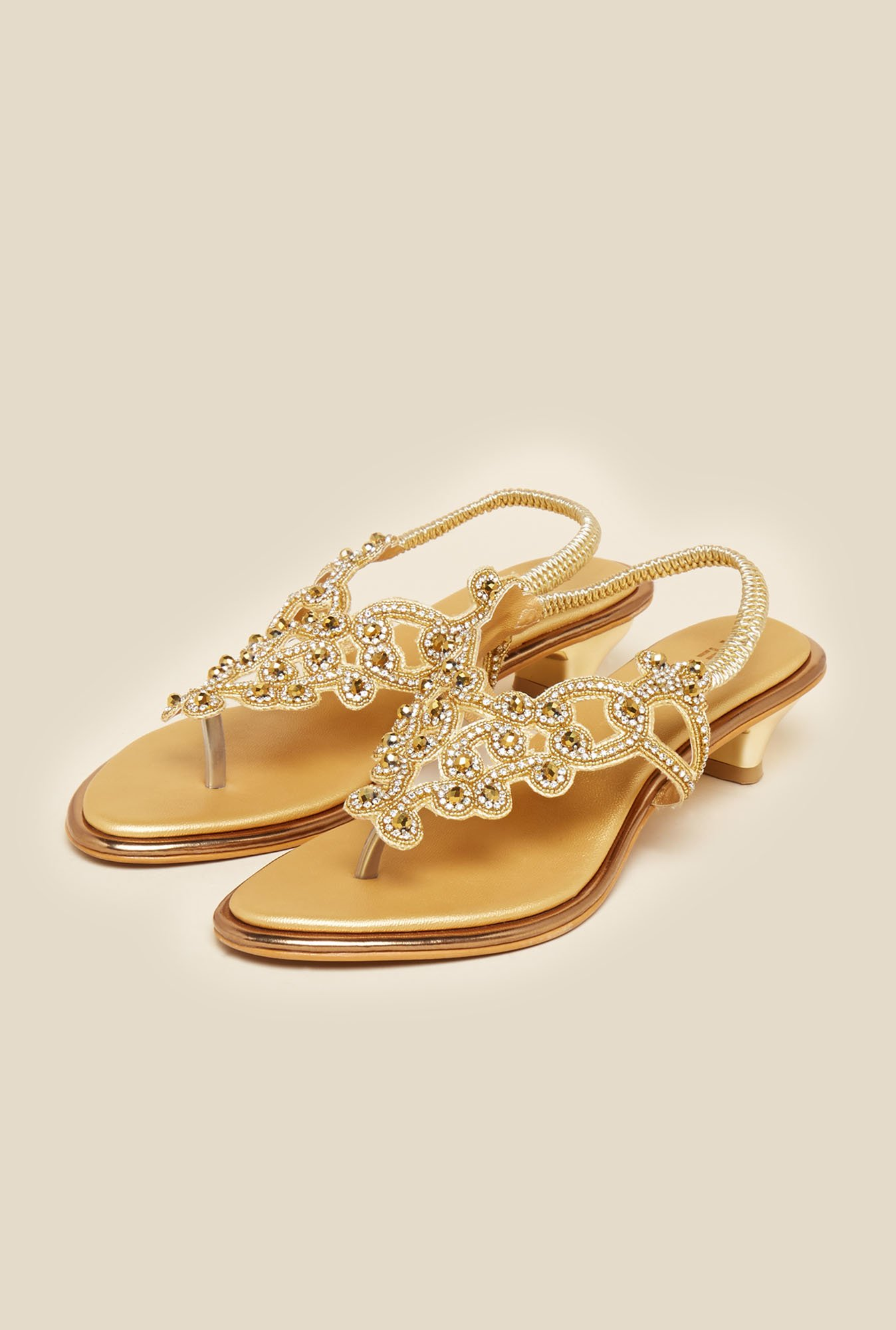 Metro Gold Embellished Back Strap Sandals