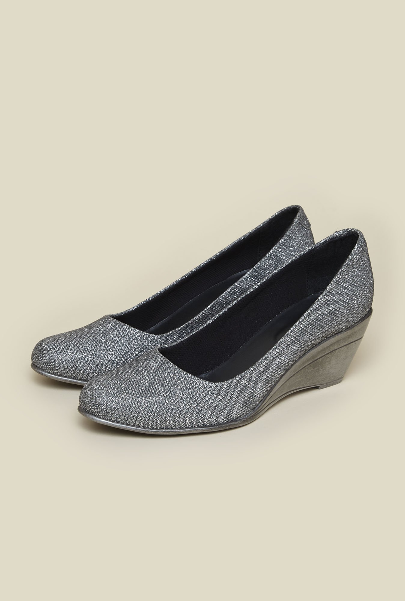 Metro Silver Wedge Heel Shoes