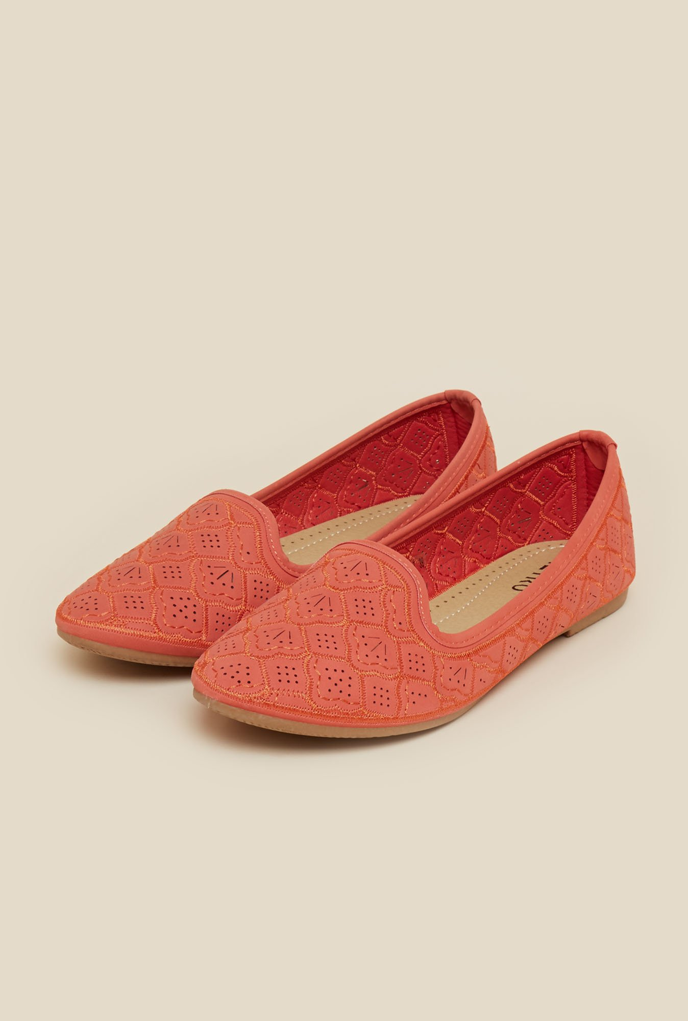 Metro Red Embroidered Ballerina Shoes