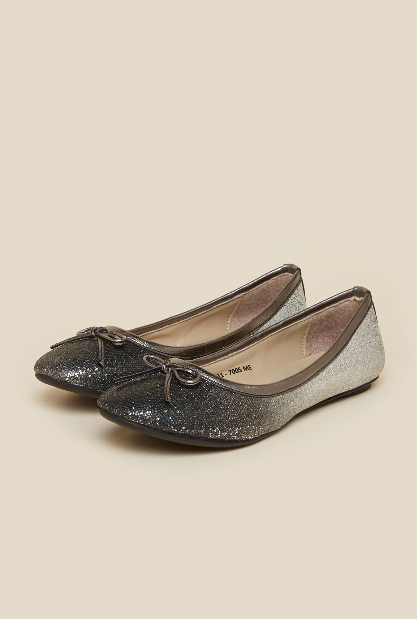 Metro Silver Ballerina Shoes