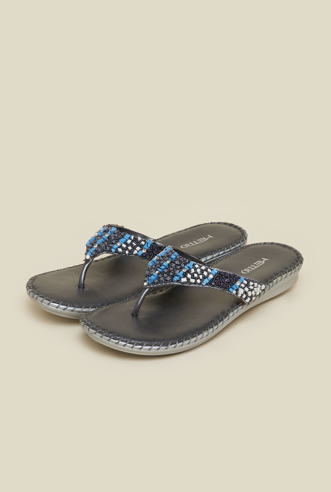 Metro Gun Metal Beaded Sandals