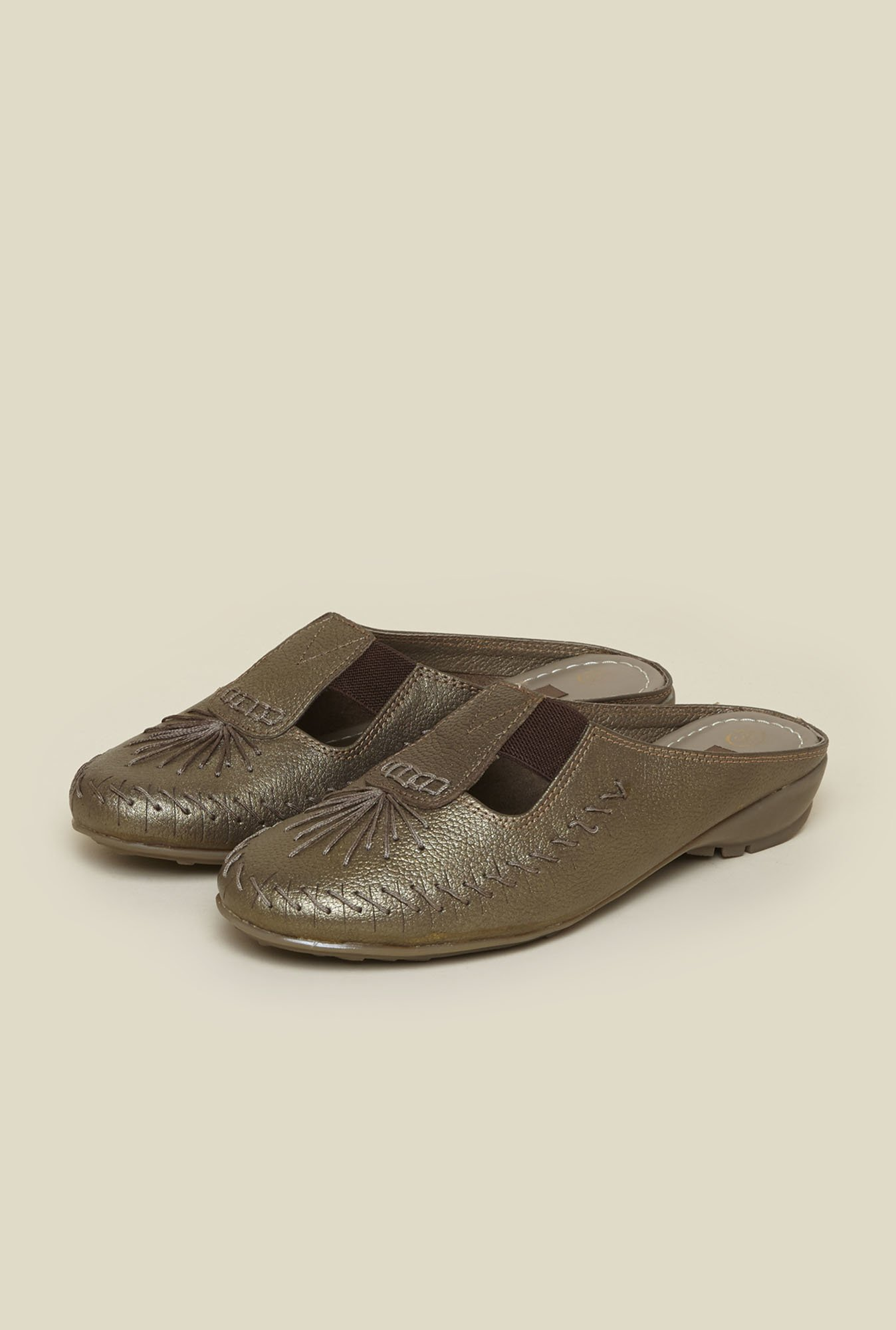 Metro Bronze Front Covered Slide Sandals