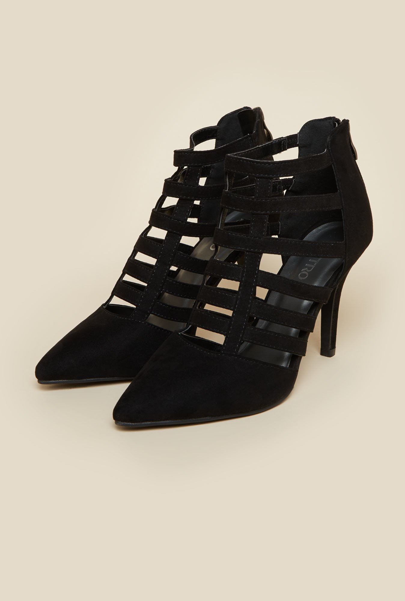 Metro Black Caged Heel Sandals