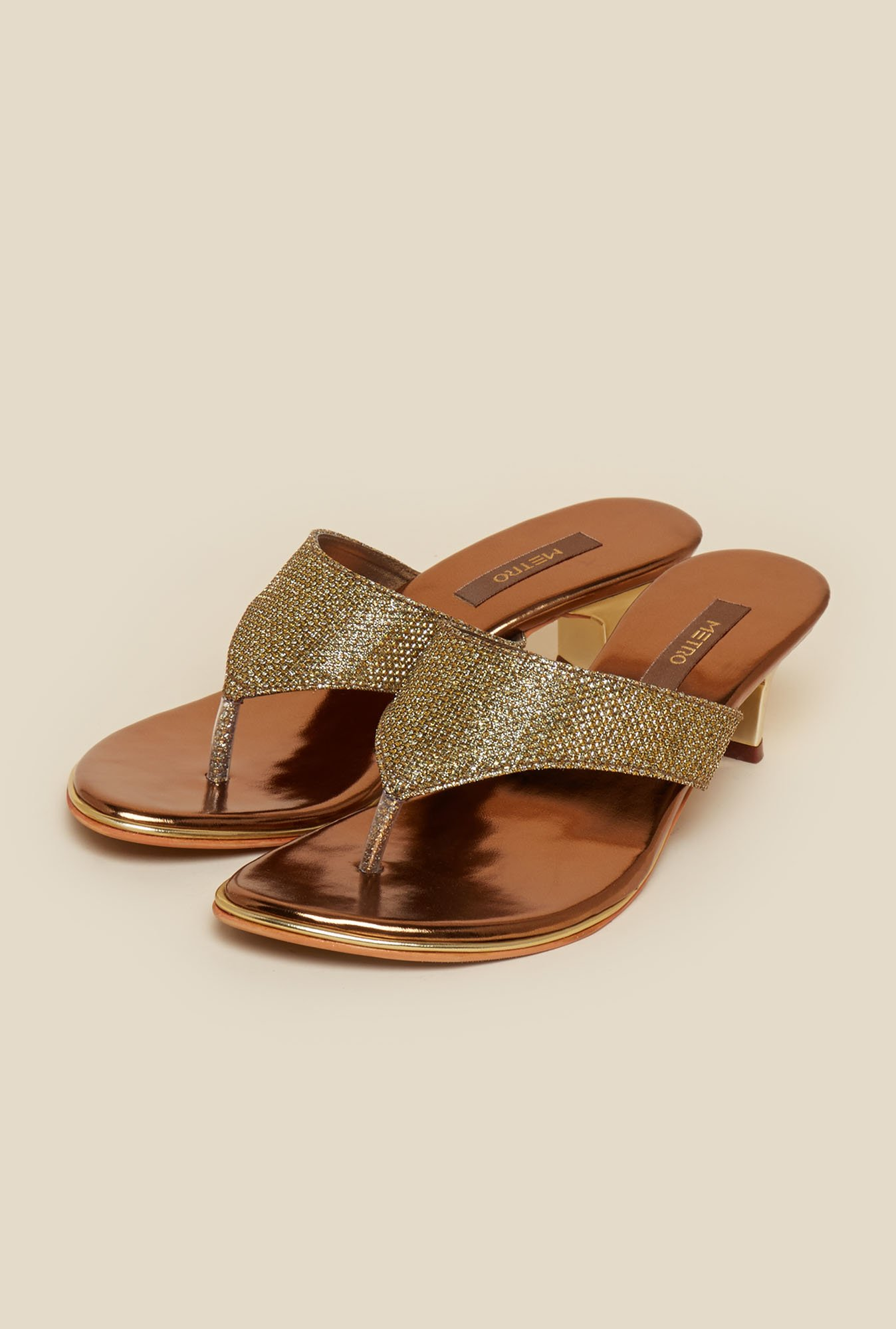 Metro Antique Gold Slip-On Kitten Heel Sandals