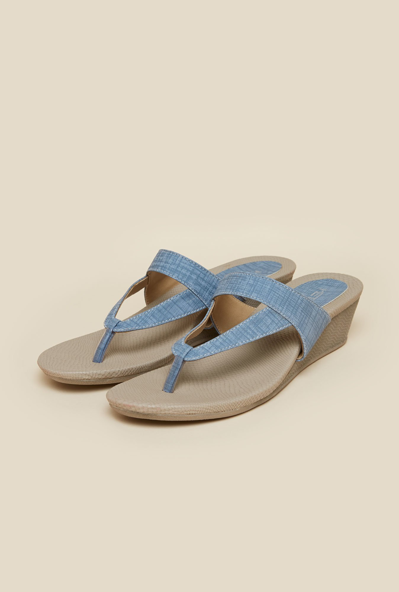 Metro Light Blue Casual Slip-On Wedges