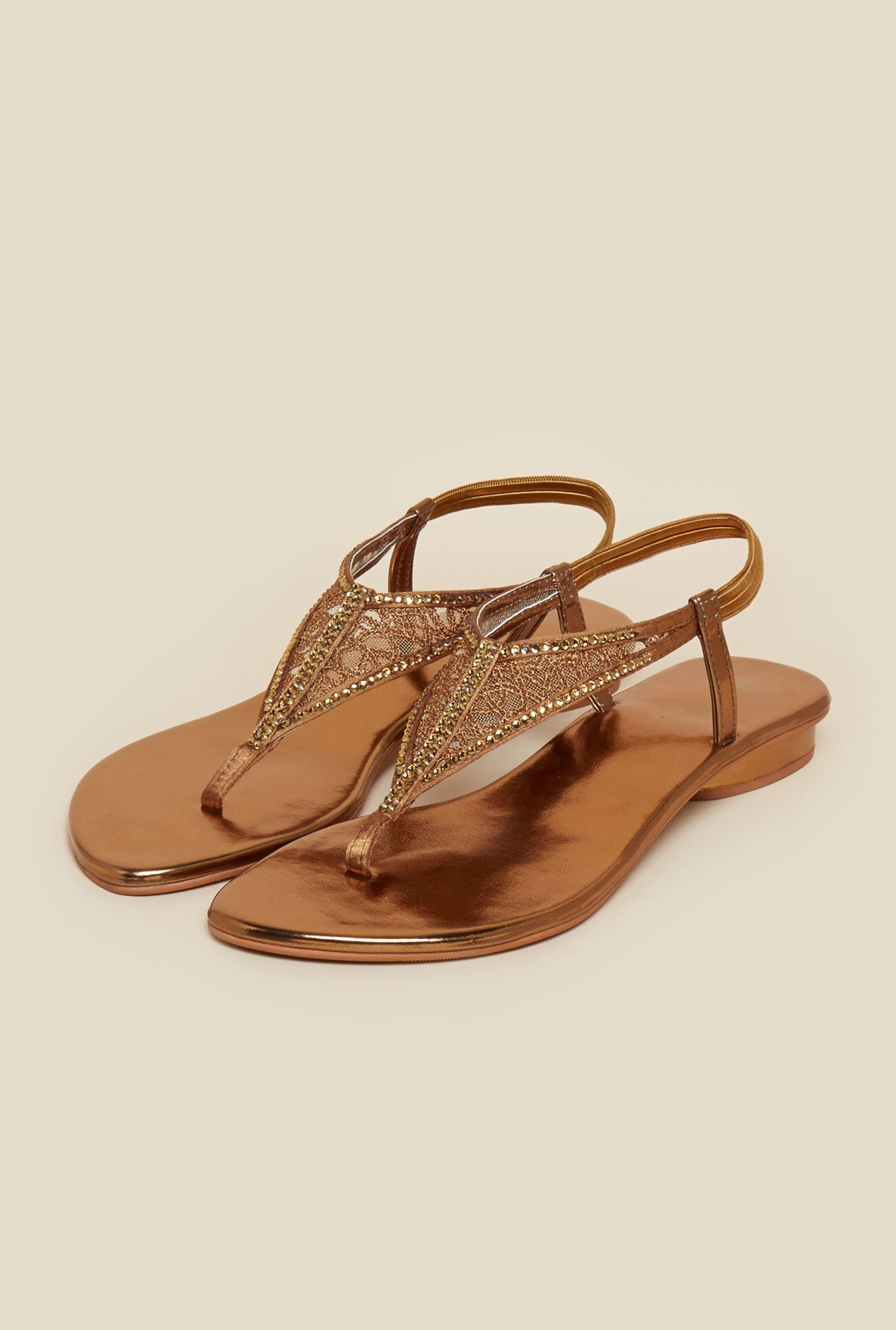 Metro Antique Gold Back Strap Sandals