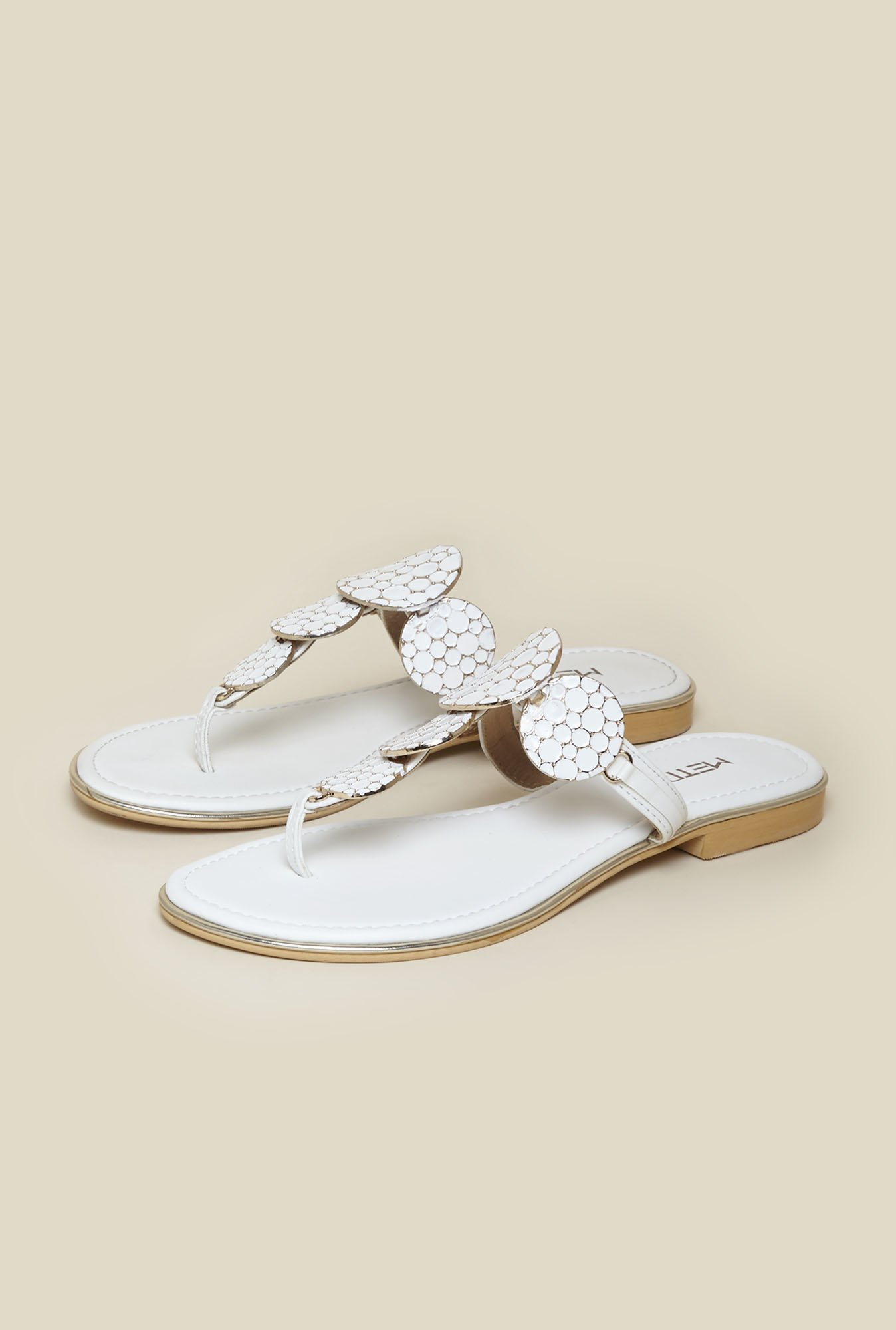 Metro White Slip-On Sandals