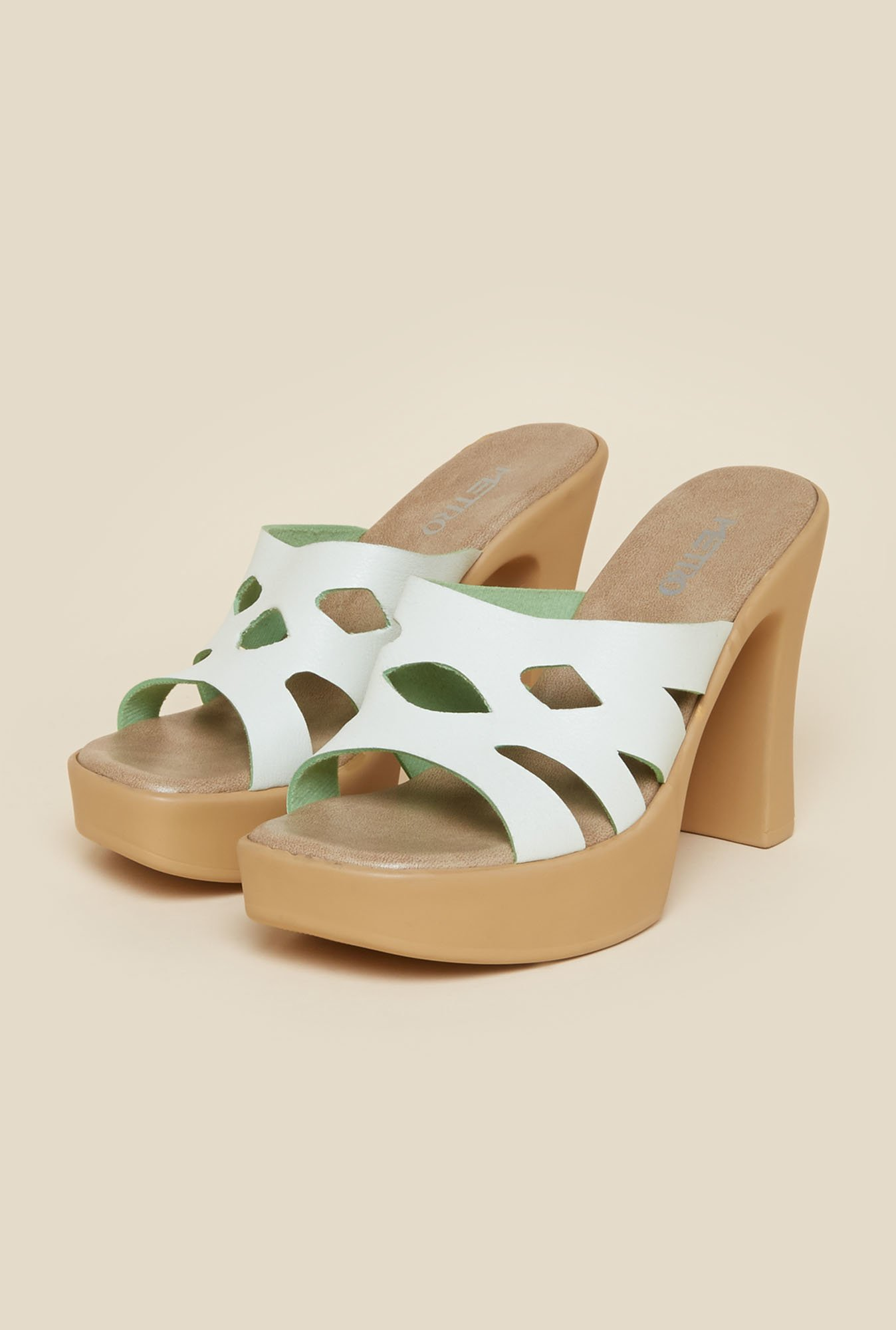Metro White Block Heel Sandals