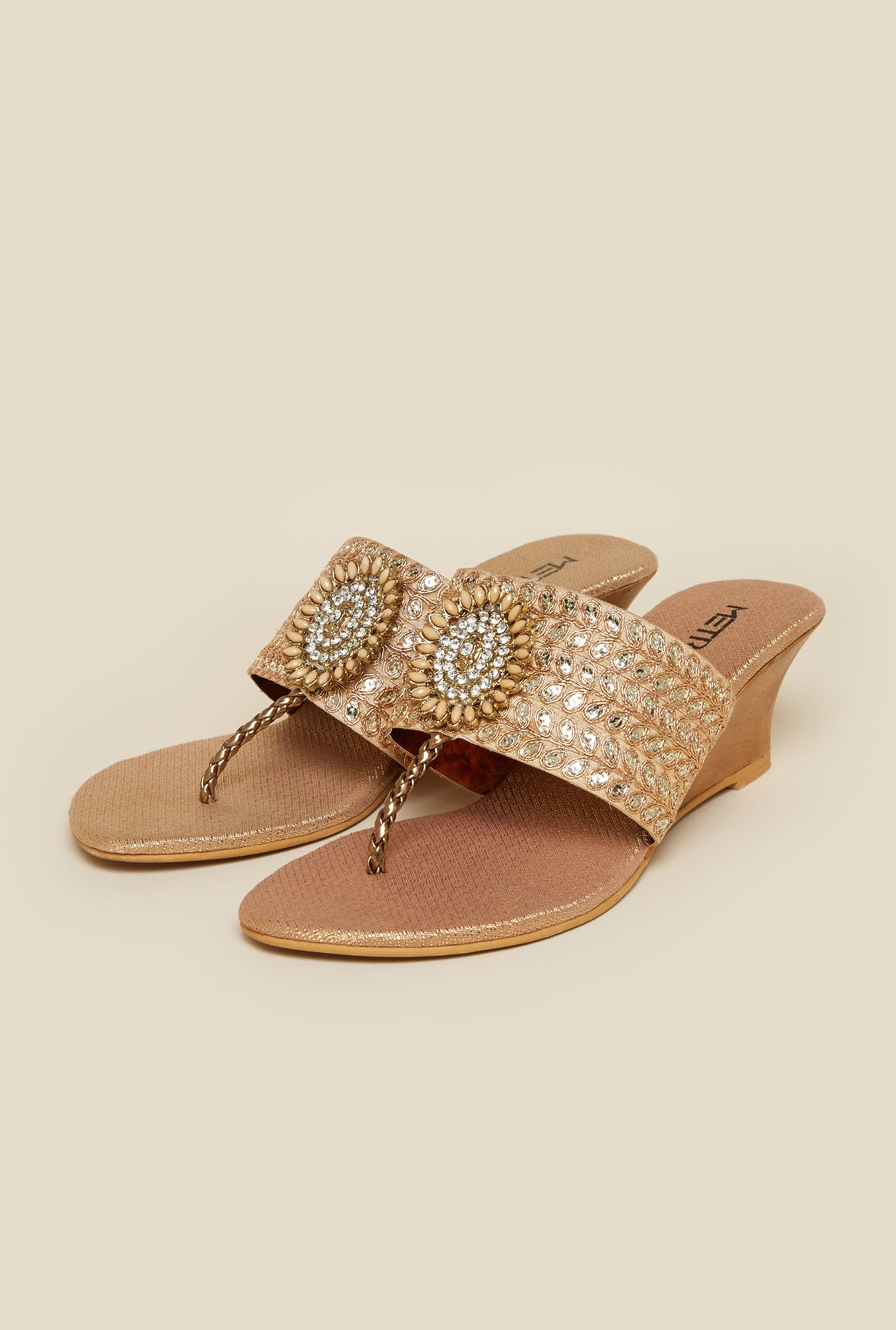 Metro Antique Gold Ethnic Wedges