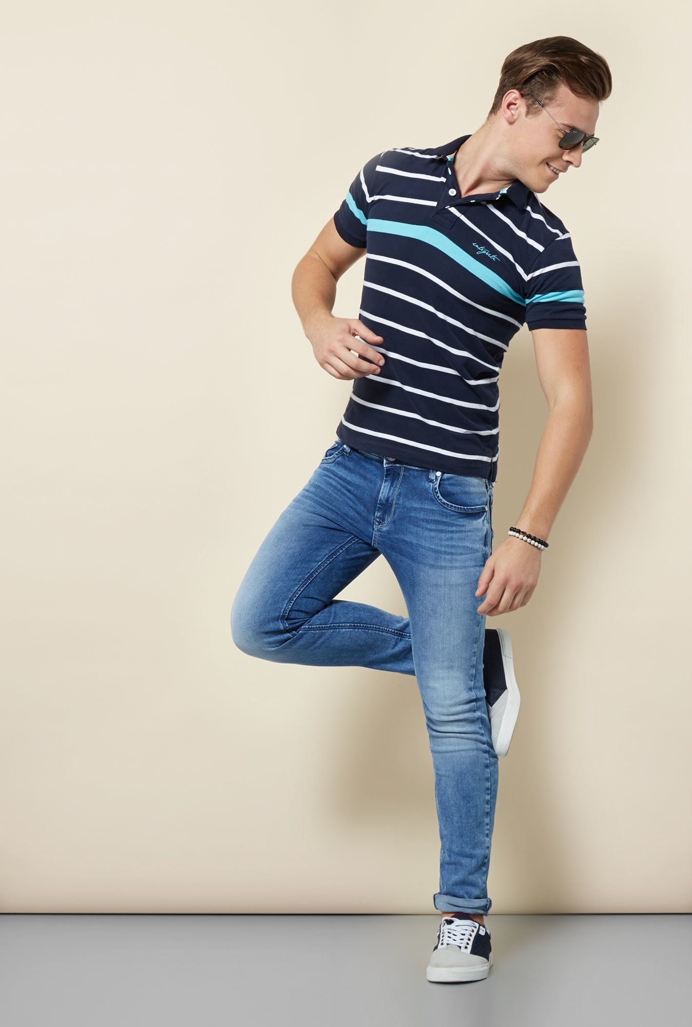 Integriti Navy Striped Polo T Shirt