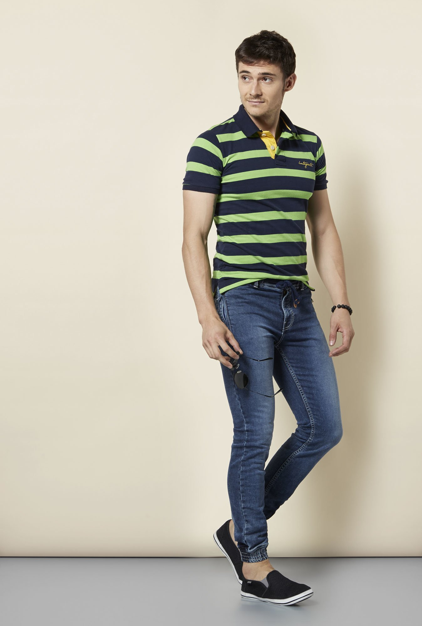 Integriti Green & Navy Striped Polo T Shirt