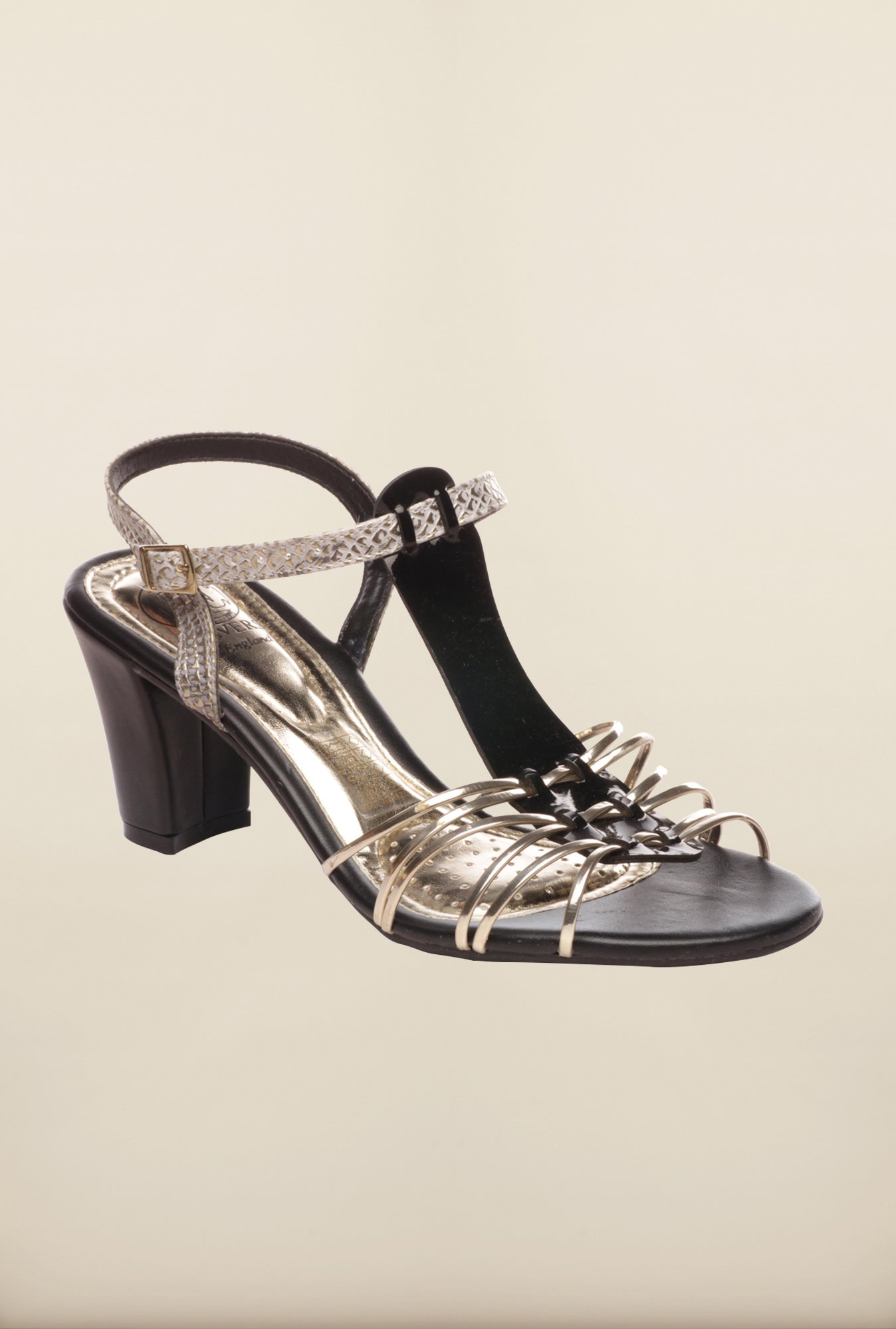 Pavers England Black & Gold Ankle Strap Sandals