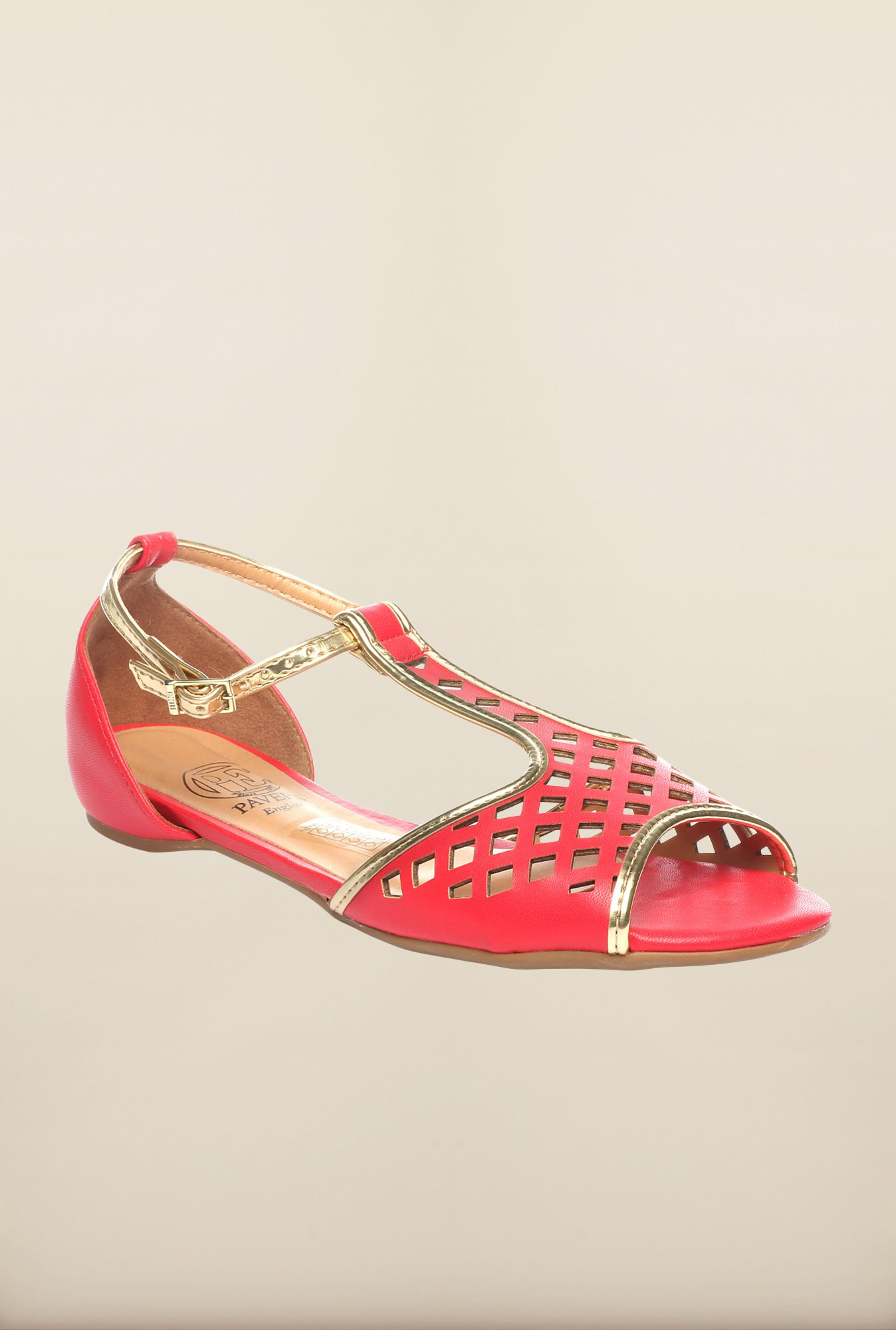 Pavers England Red Ankle Strap Sandals