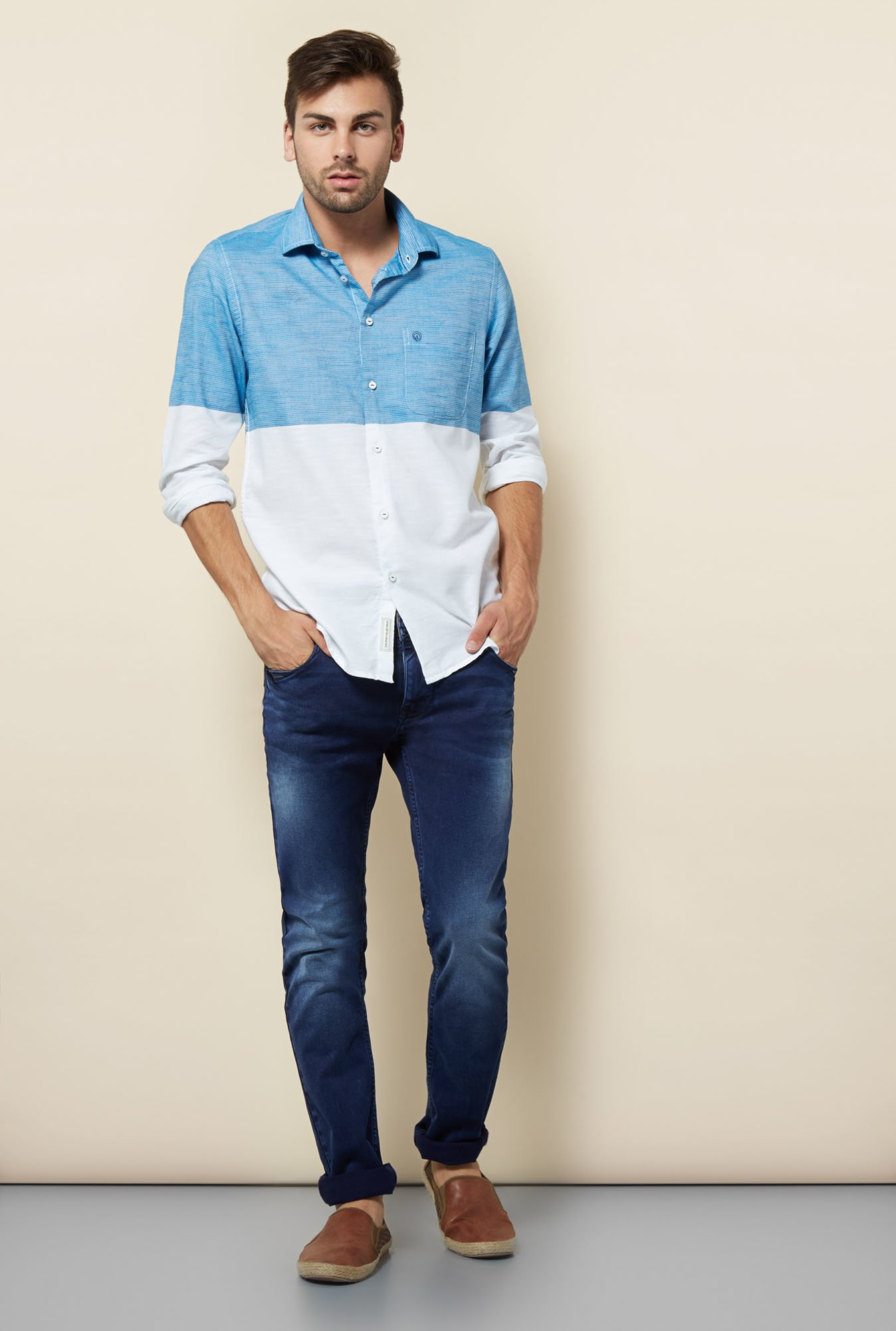 Integriti Blue & White Cotton Shirt