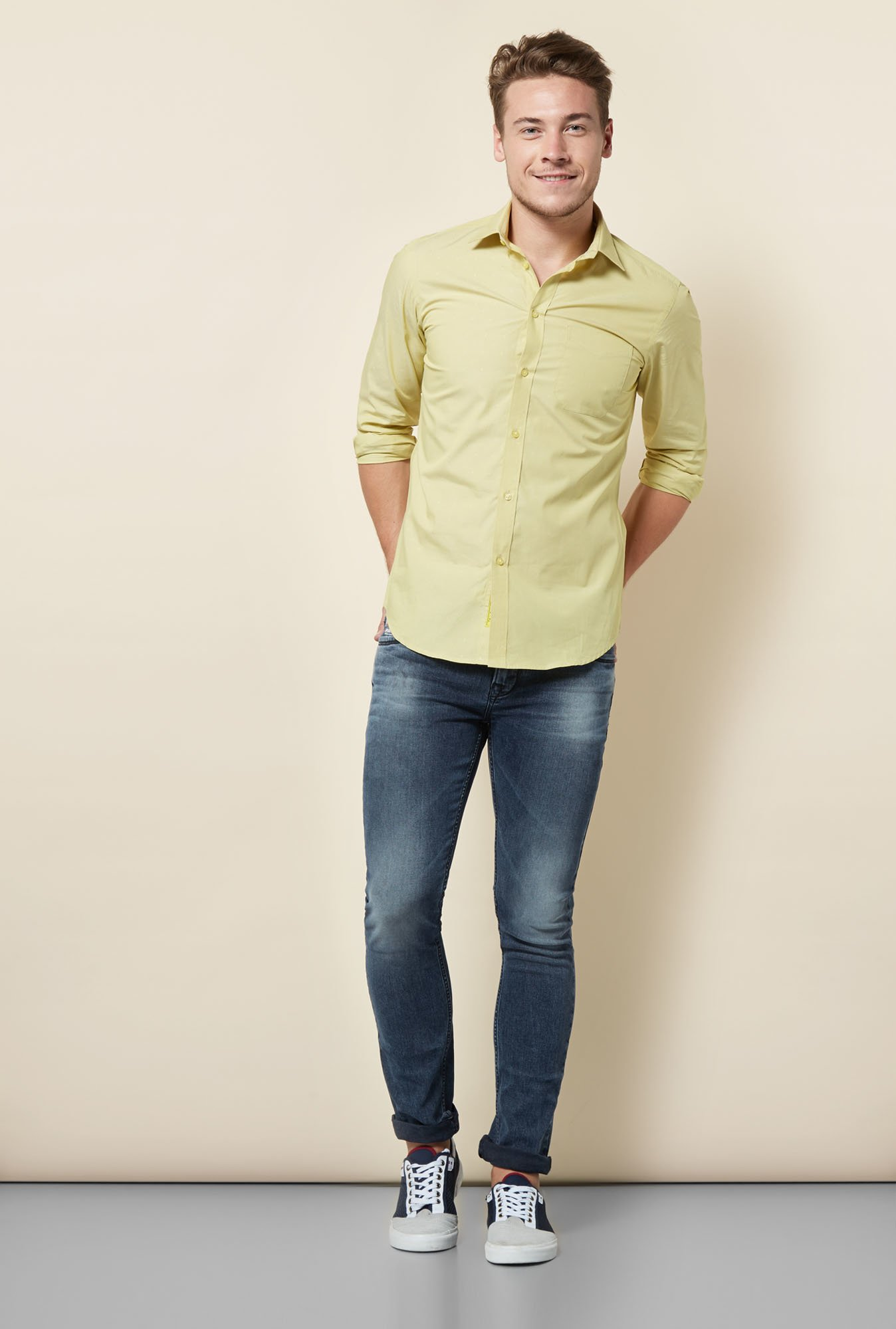 Integriti Yellow Solid Cotton Shirt