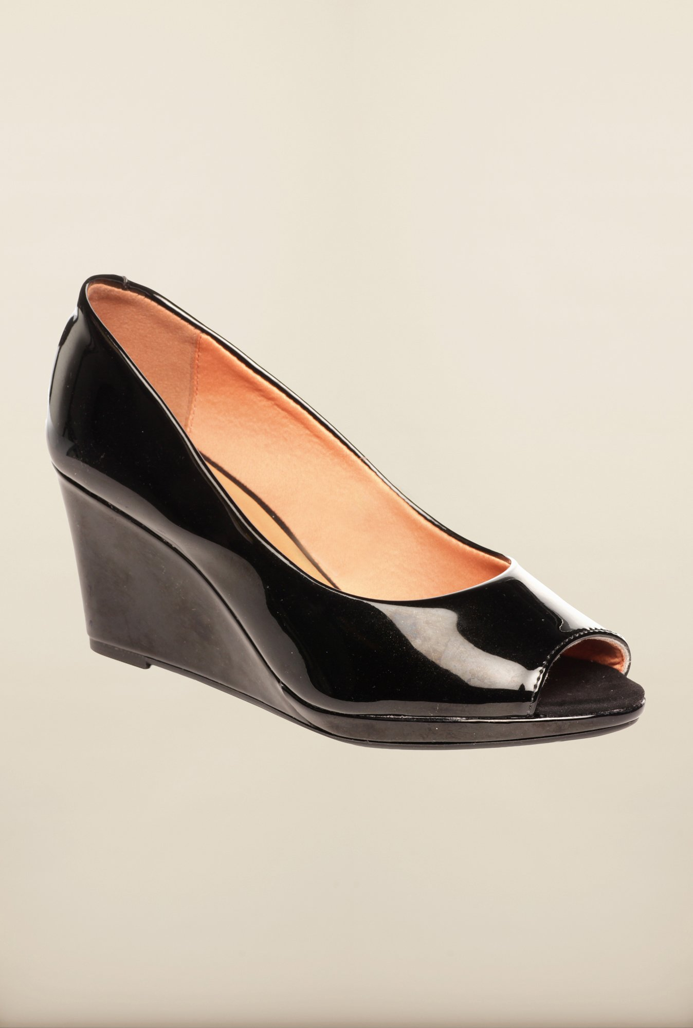 Pavers England Black Peeptoe Wedges