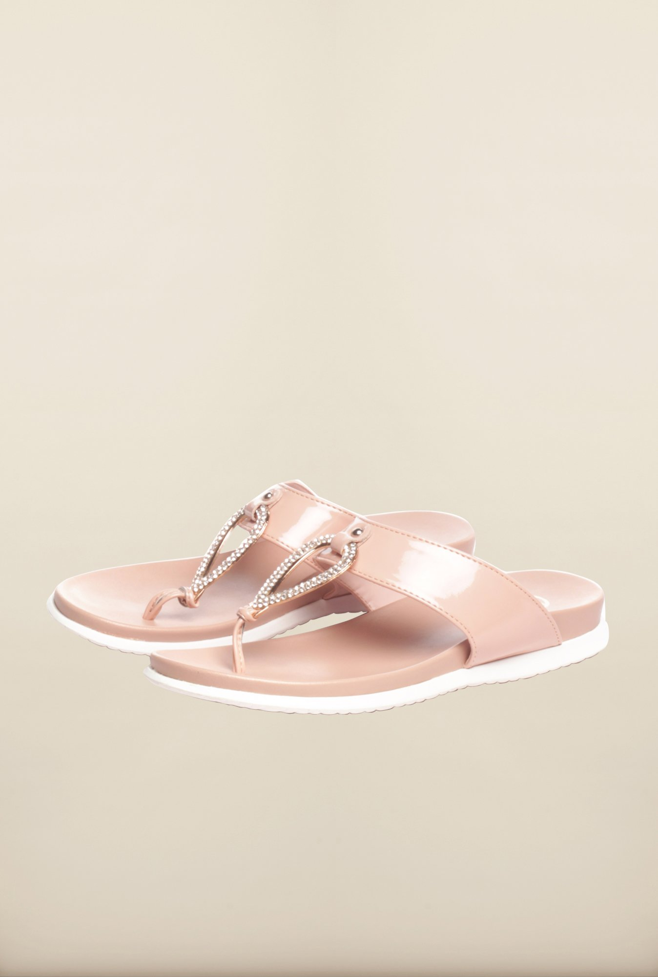Pavers England Beige Flat Sandals