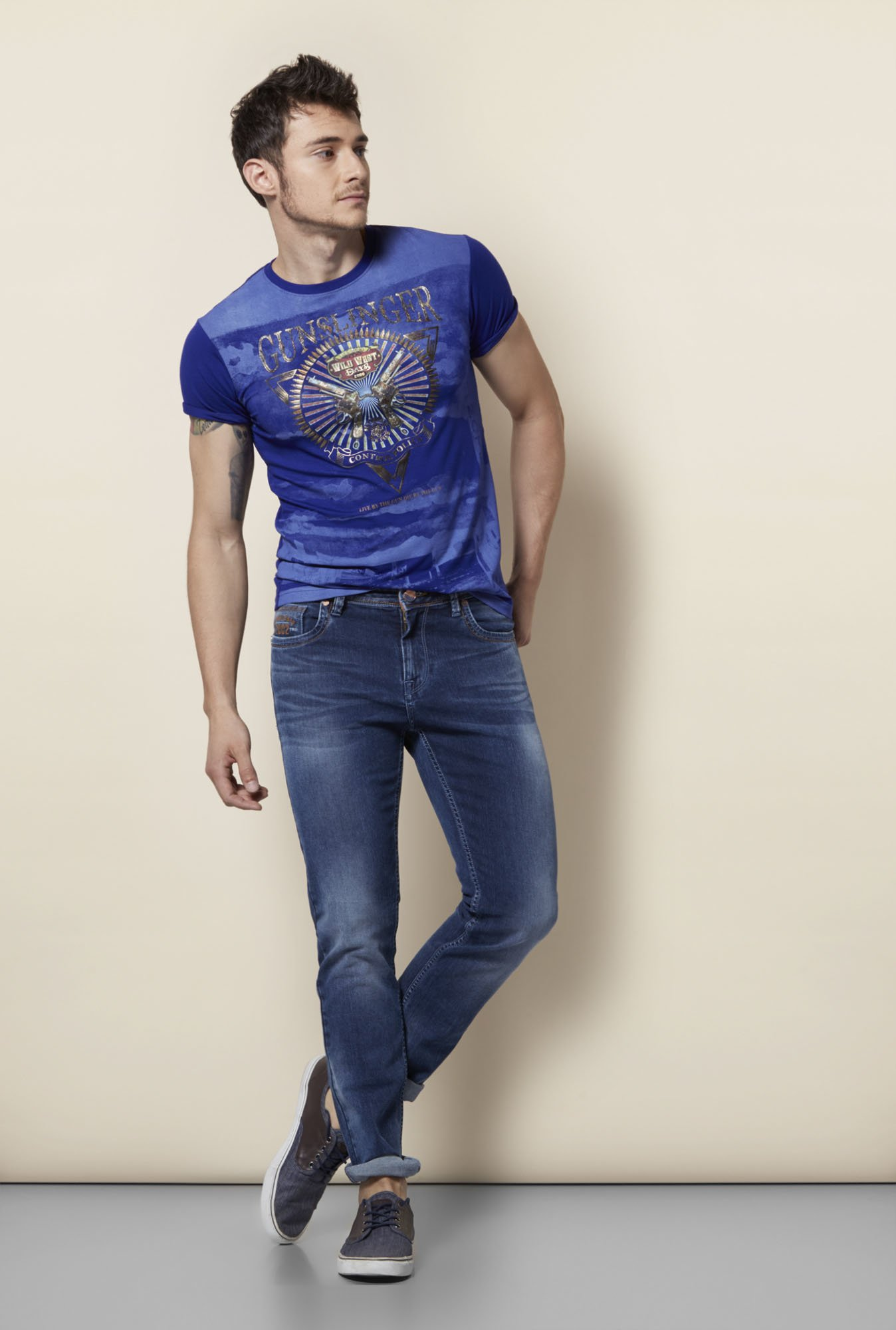 Integriti Royal Blue Printed T Shirt