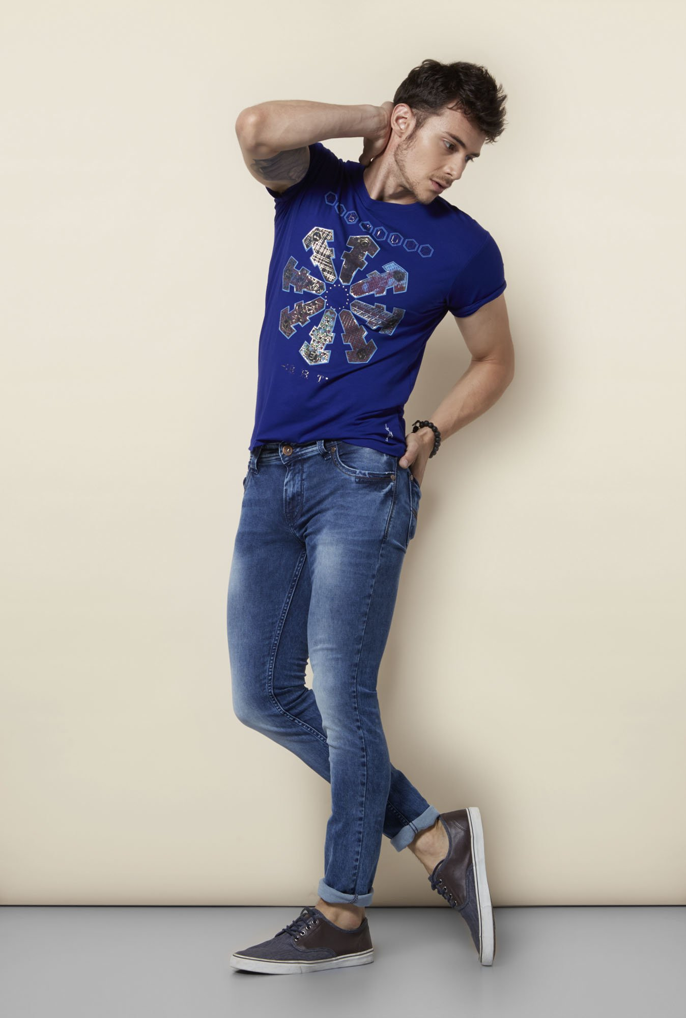 Integriti Royal Blue Printed Crew Neck T Shirt