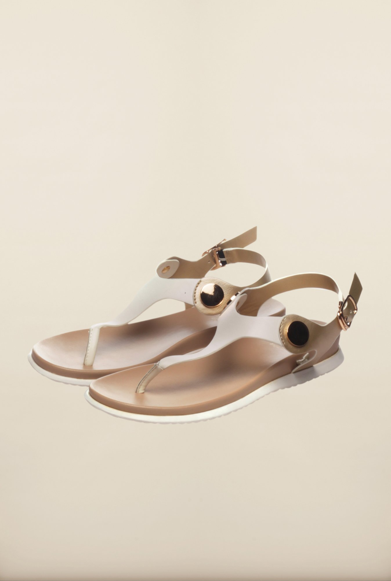 Pavers England White Flat Sandals