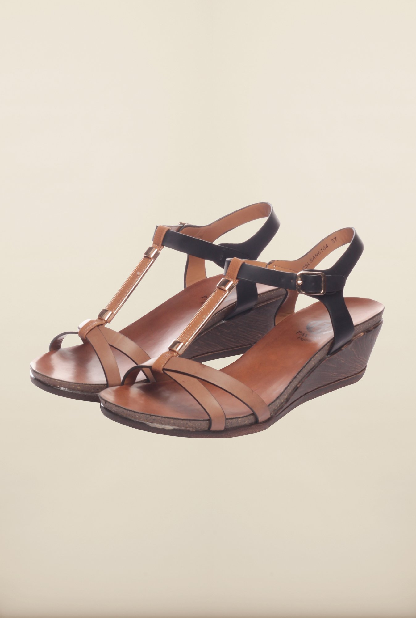 Pavers England Brown & Black Ankle Strap Sandals