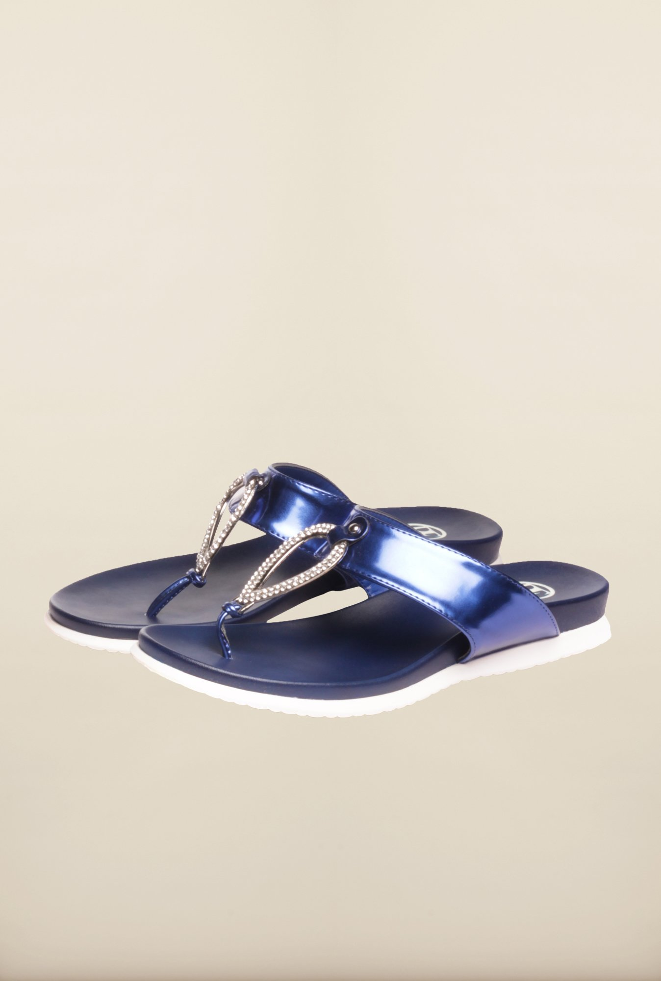 Pavers England Blue Flat Sandals