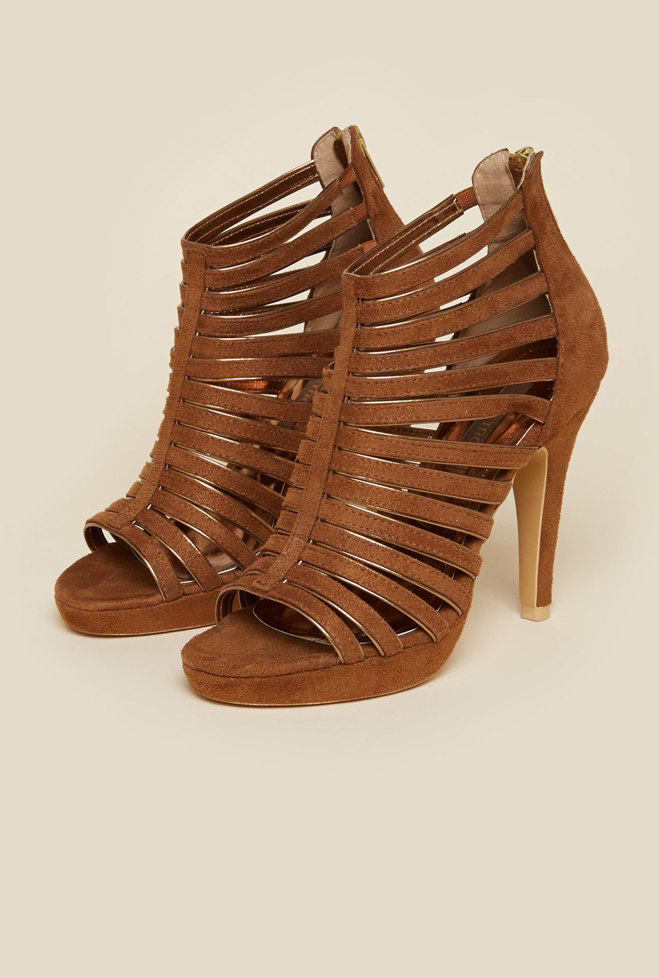 Metro Brown Gladiator Stilettos